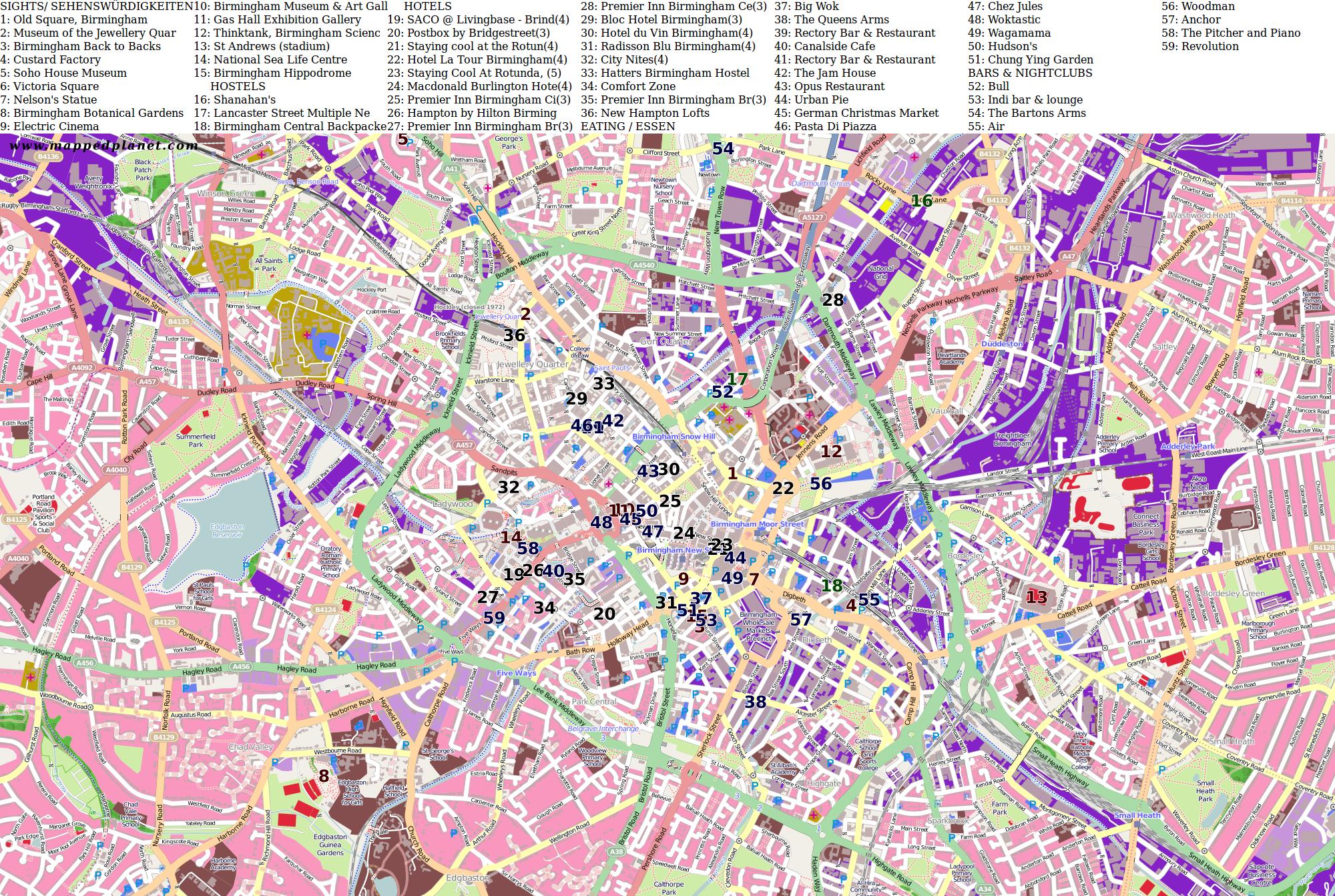 Birmingham Karte.City Maps Birmingham
