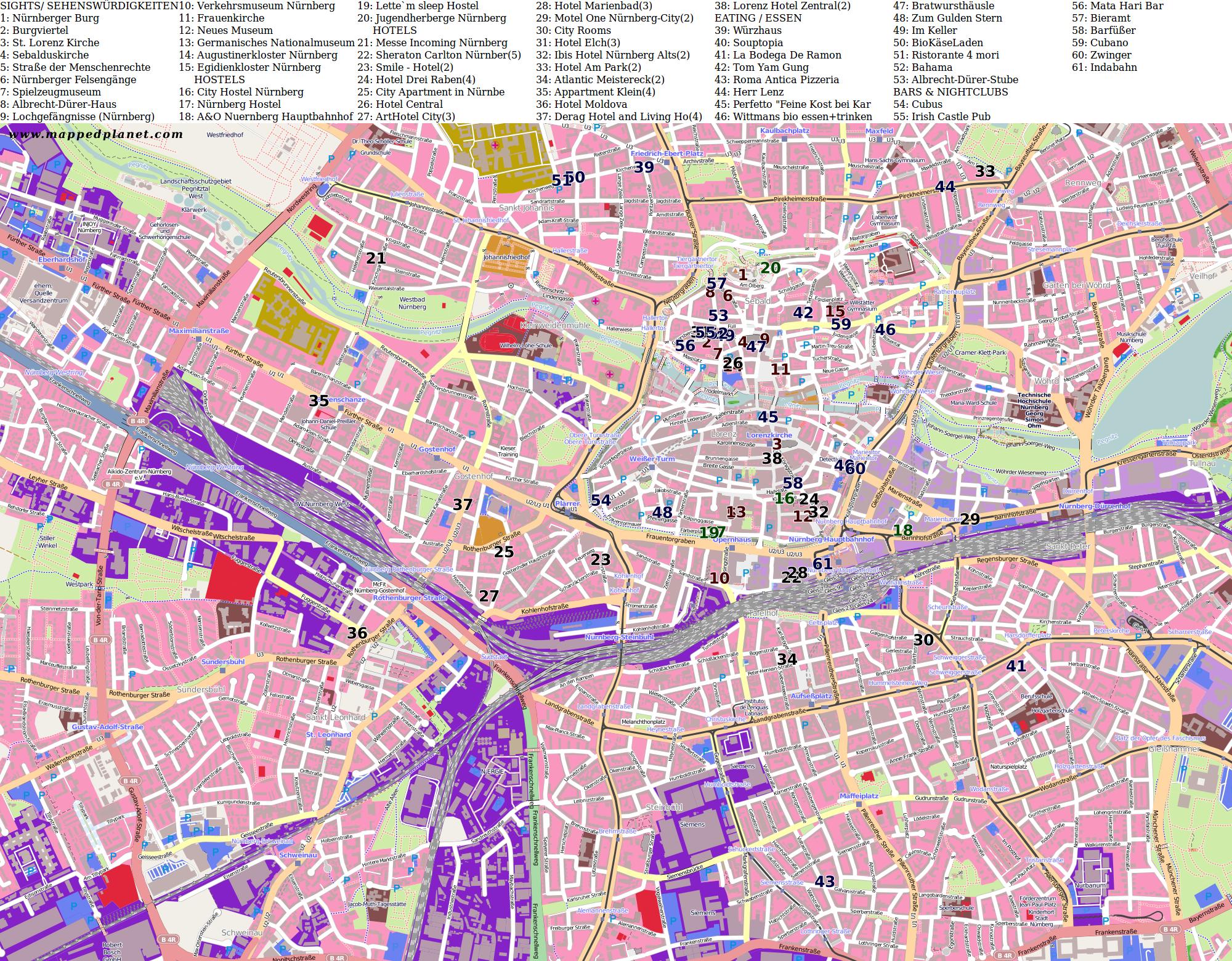 City maps Nuremberg
