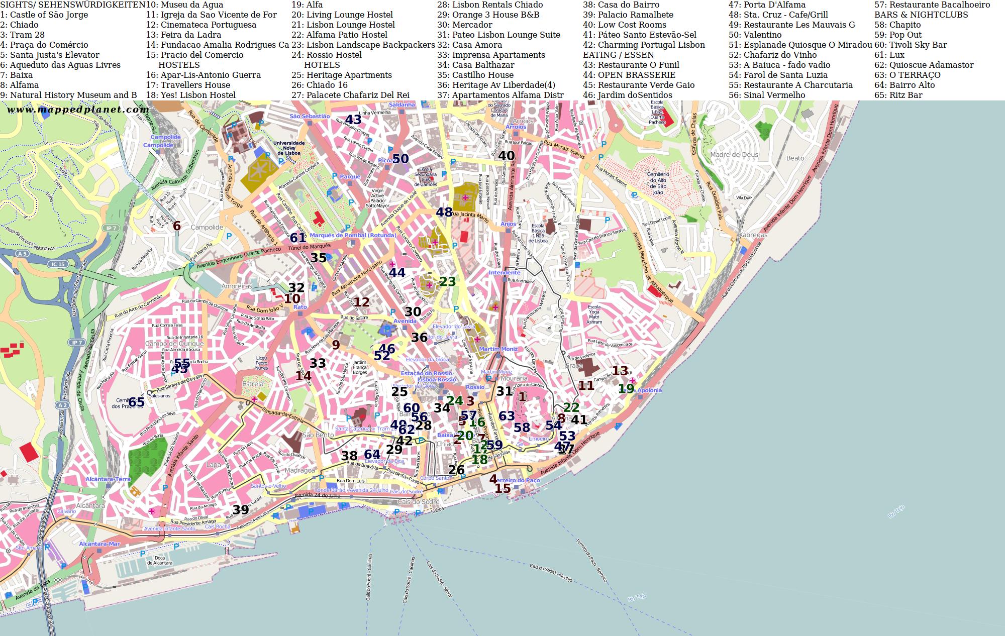 lissabon sehenswürdigkeiten karte Karten und Stadtpläne Lissabon