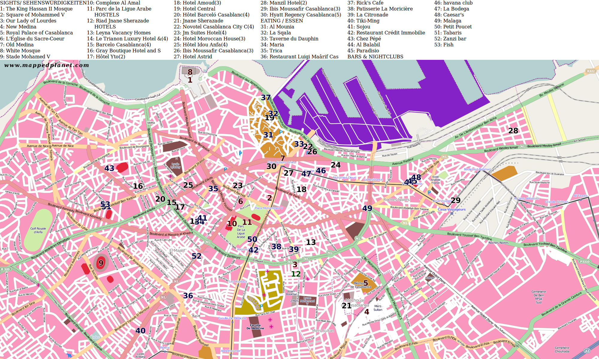 City maps Casablanca Casablanca Map on