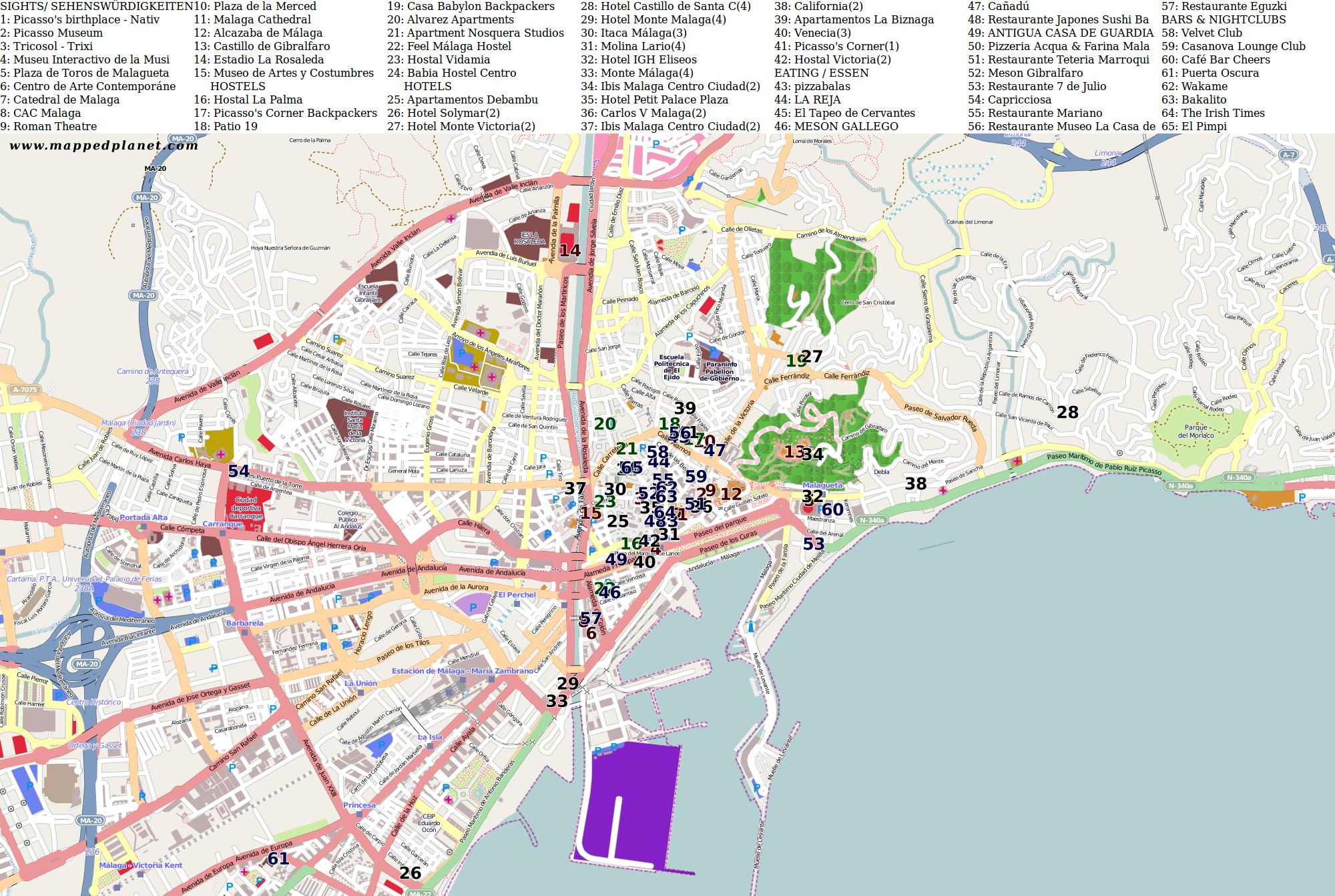 Malaga Karte Spanien.Karten Und Stadtplane Malaga