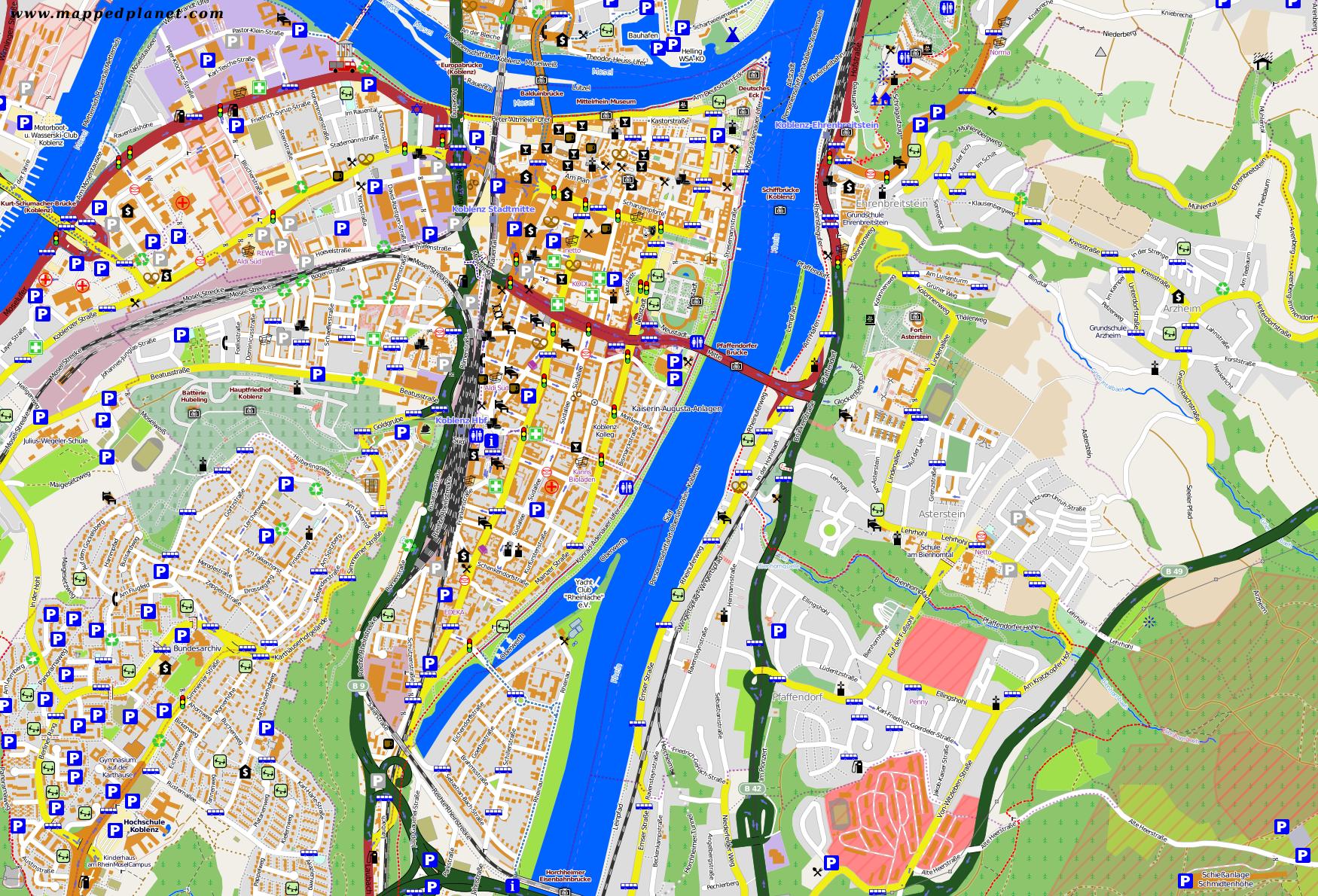 Karte Koblenz.Karten Und Stadtpläne Koblenz