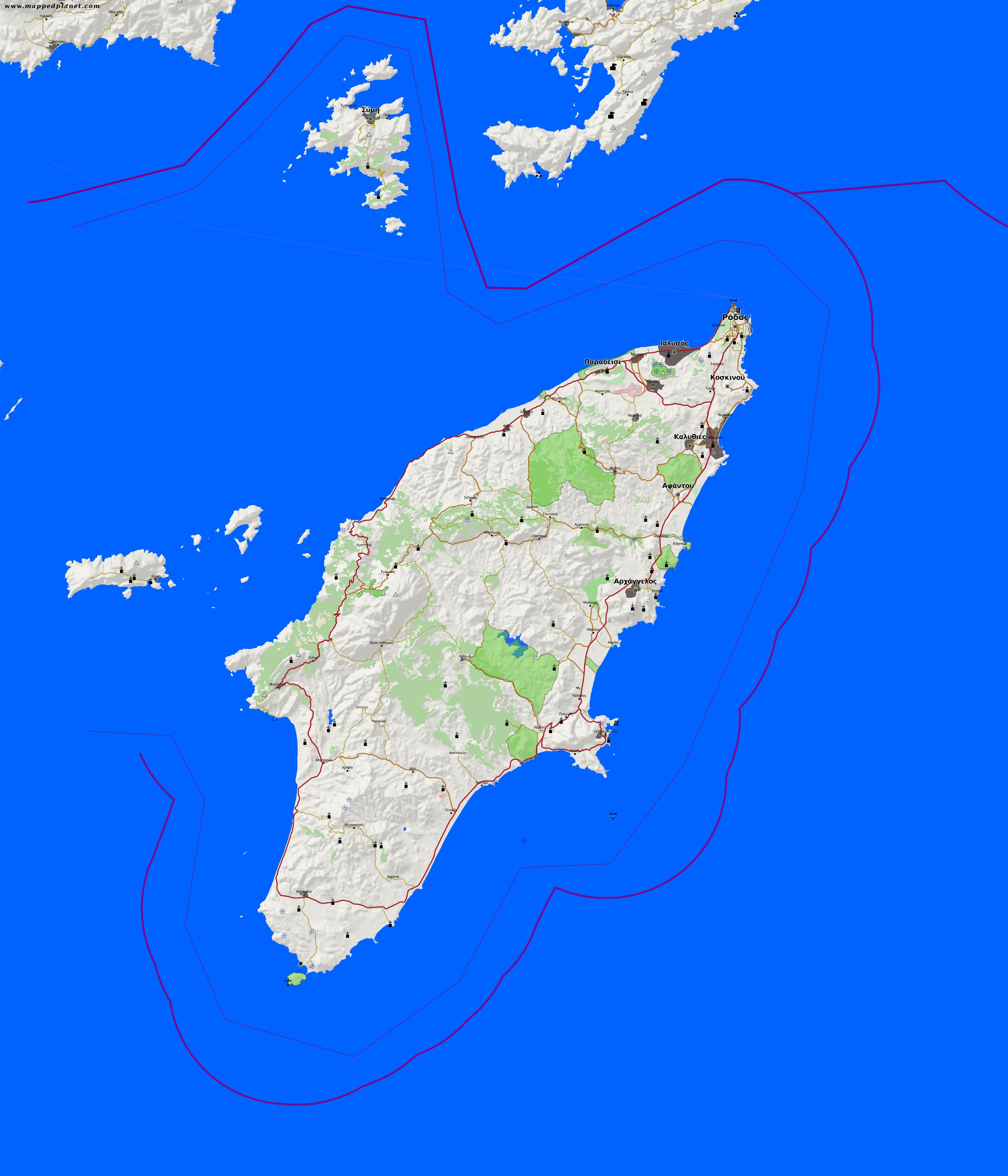 Rhodos Karte Mit Sehenswürdigkeiten.Karten Und Stadtpläne Rhodos