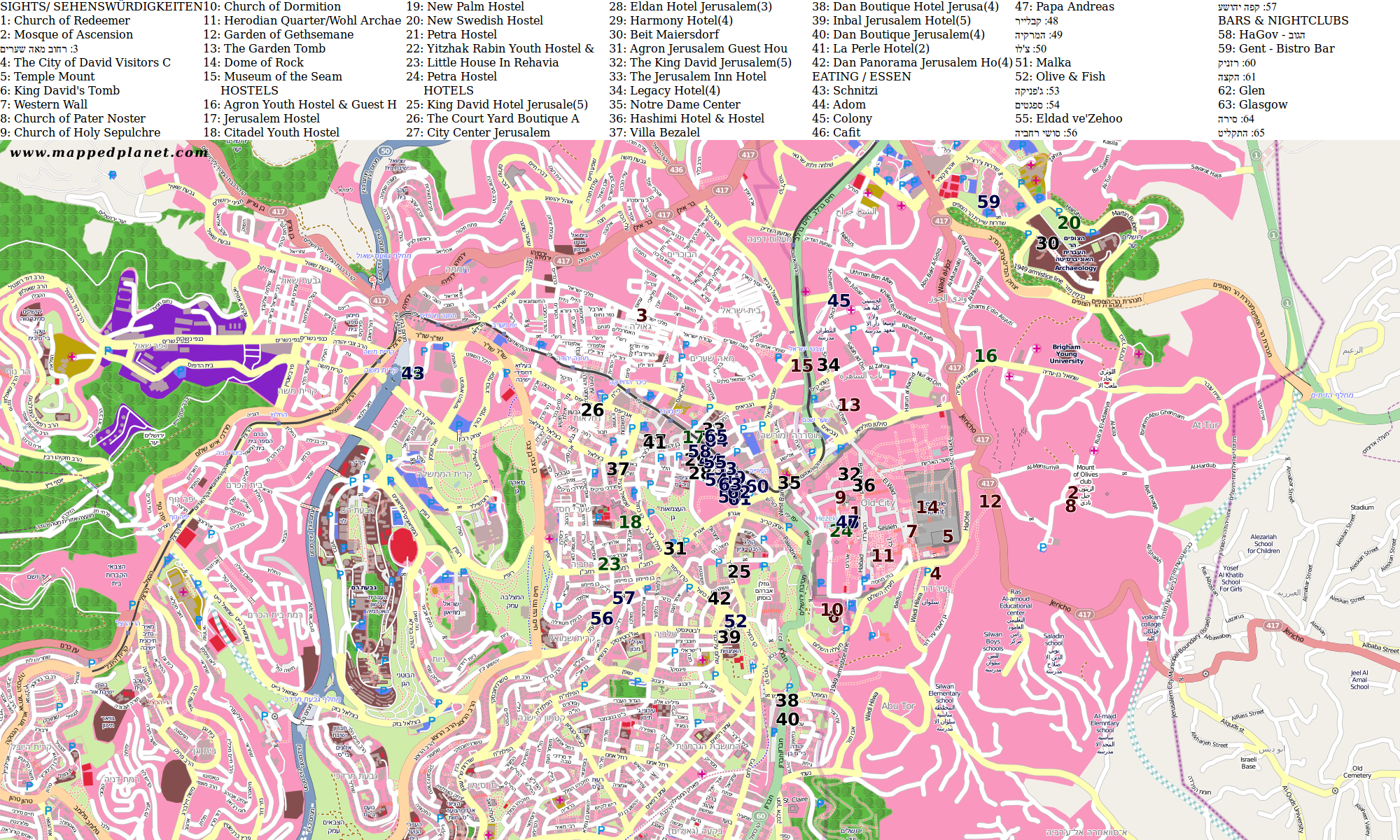 City maps jerusalem city map jerusalem with points of interest gumiabroncs Image collections