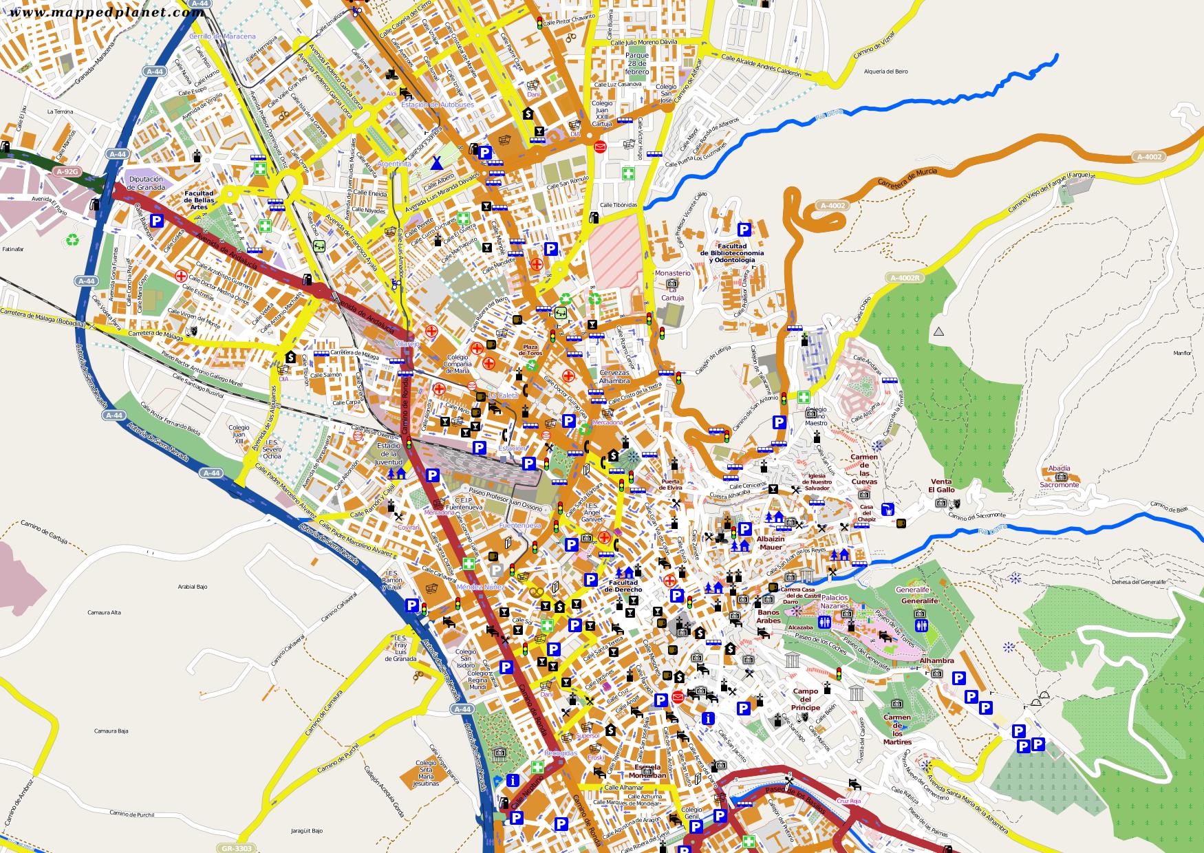Granada Karte.City Maps Granada