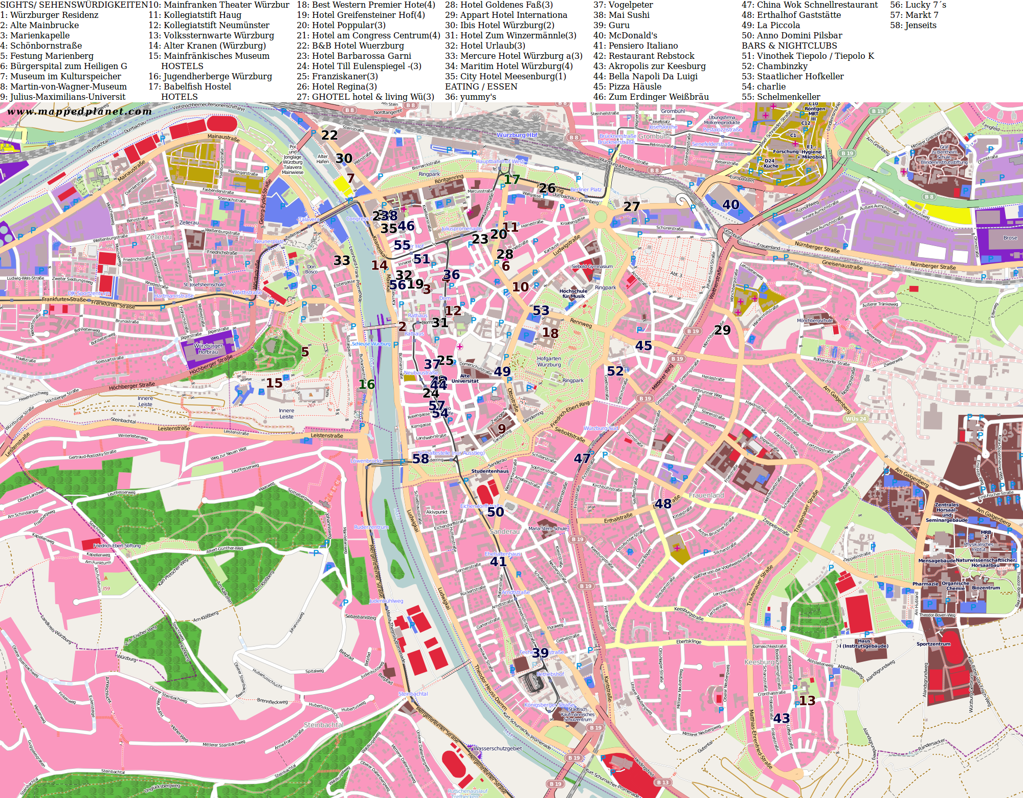 City maps Wrzburg