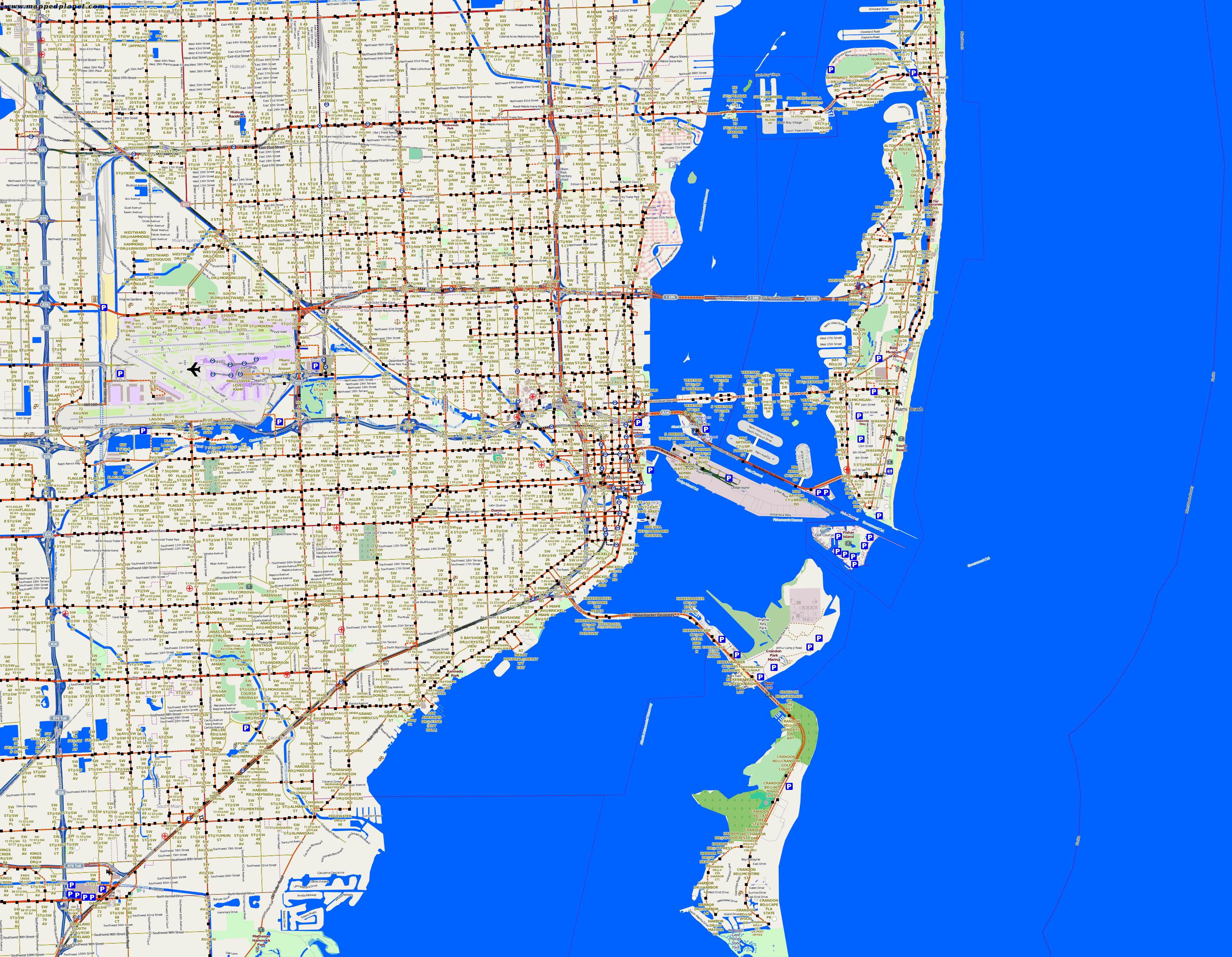 Miami Map, Miami Map Downtown, Miami Tourist Map, Miami Beach Florida Map, Traffic map Miami,Miami Location Map
