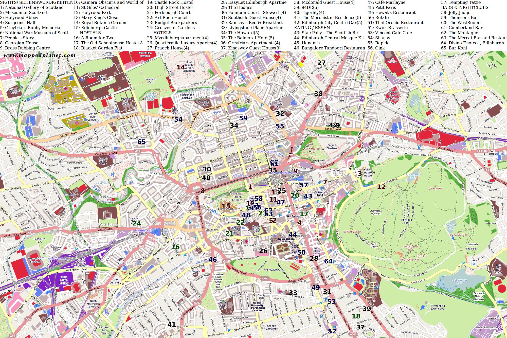 Sehenswürdigkeiten Großbritannien Karte.Karten Und Stadtpläne Edinburgh