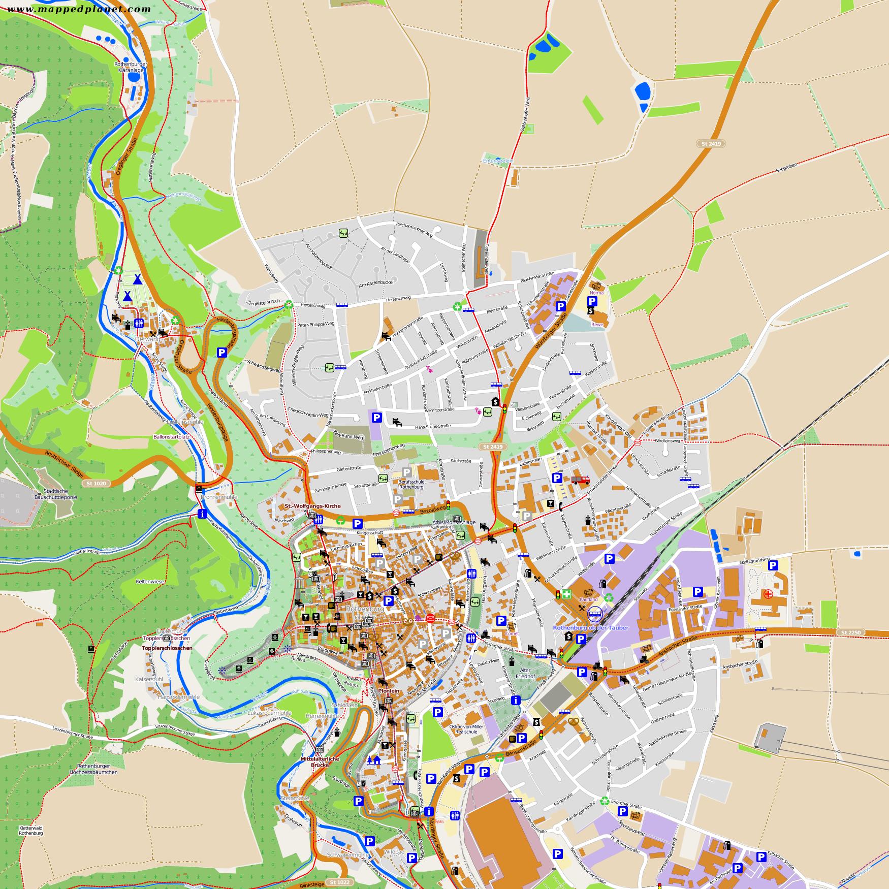 touristic map rothenburg ob der tauber