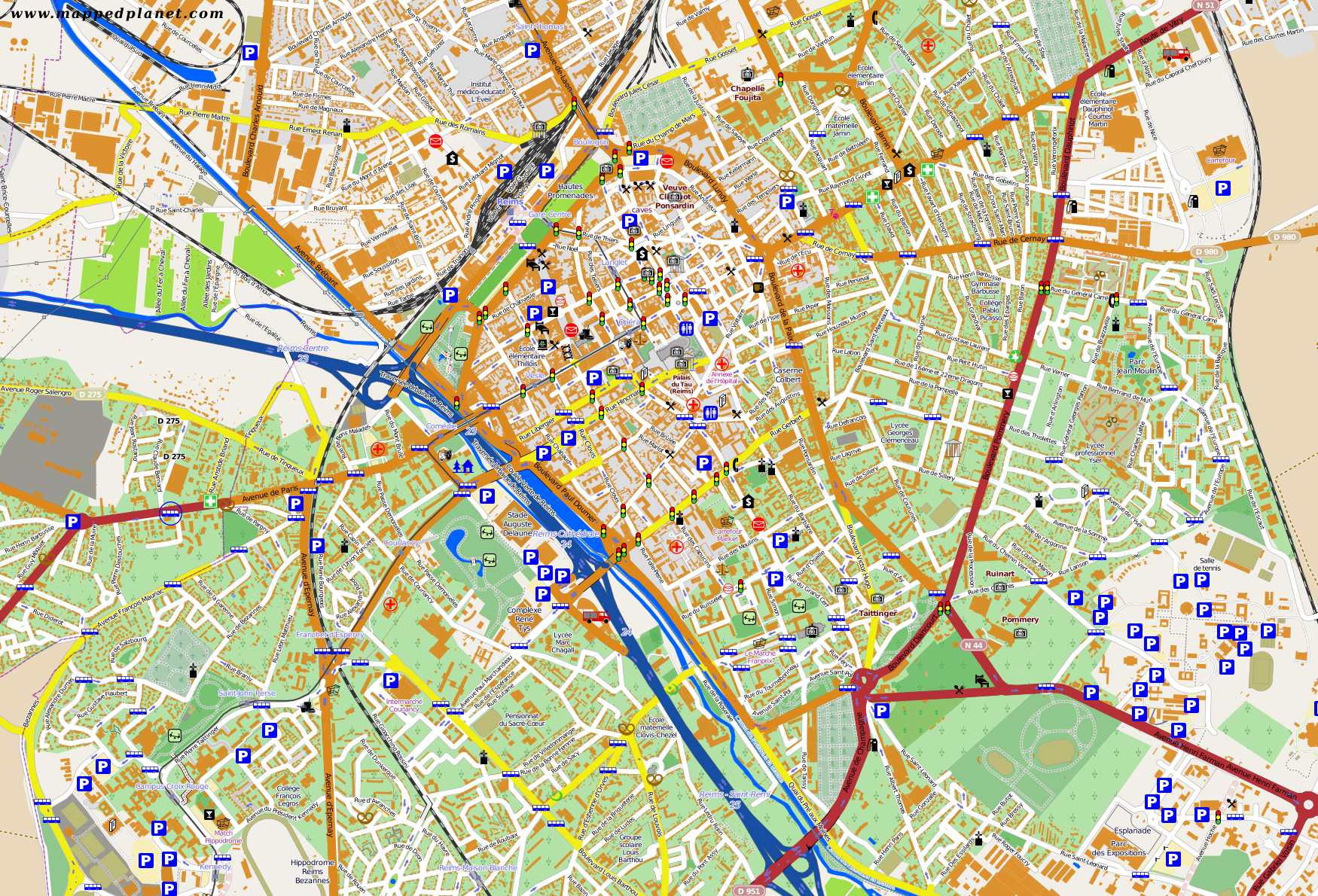 City maps Reims