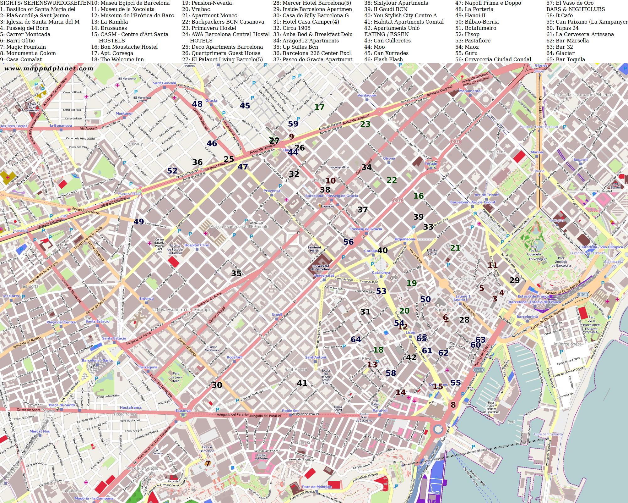 Barcelona Sehenswürdigkeiten Karte.Karten Und Stadtpläne Barcelona