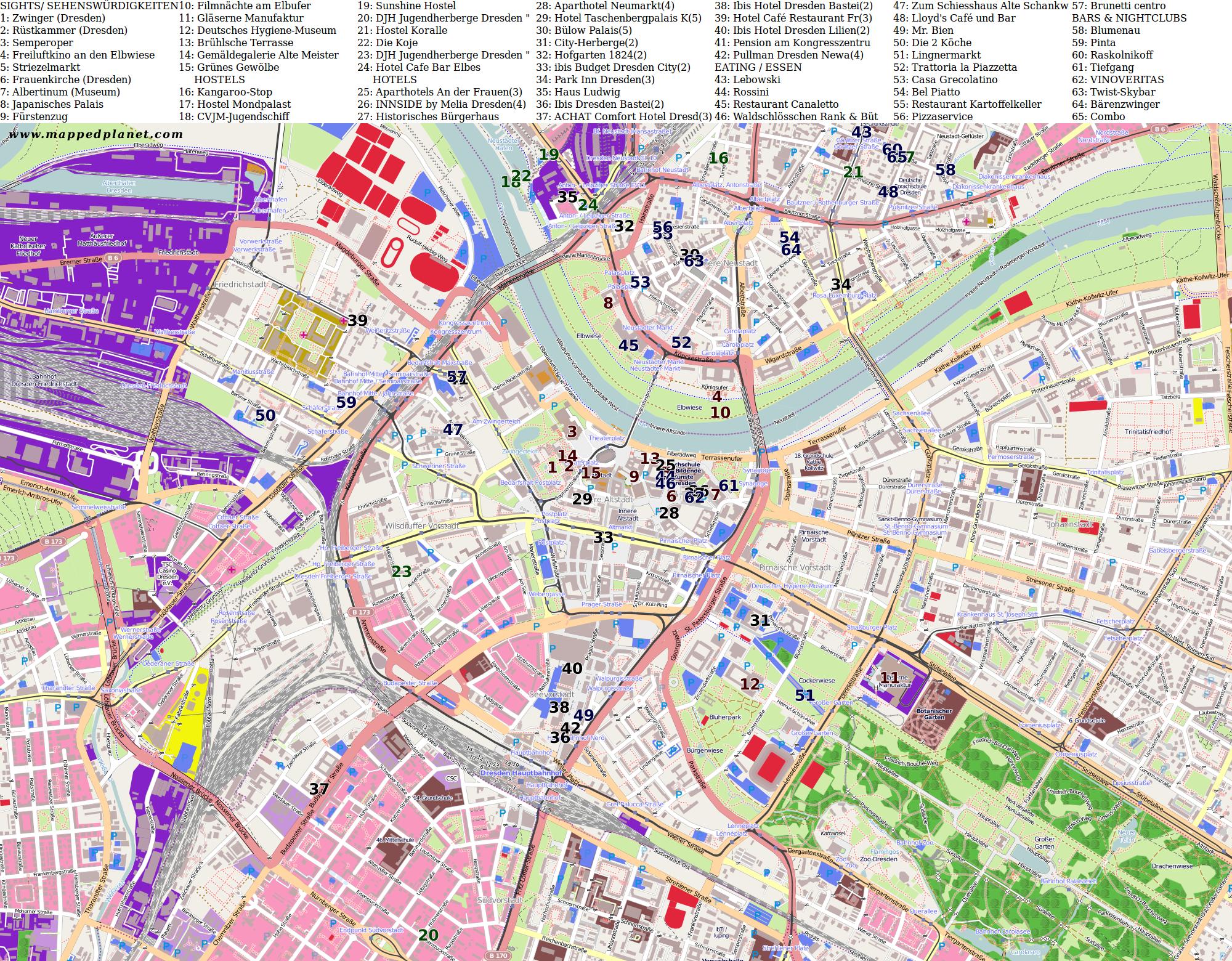 dresden sehenswürdigkeiten karte Karten und Stadtpläne Dresden