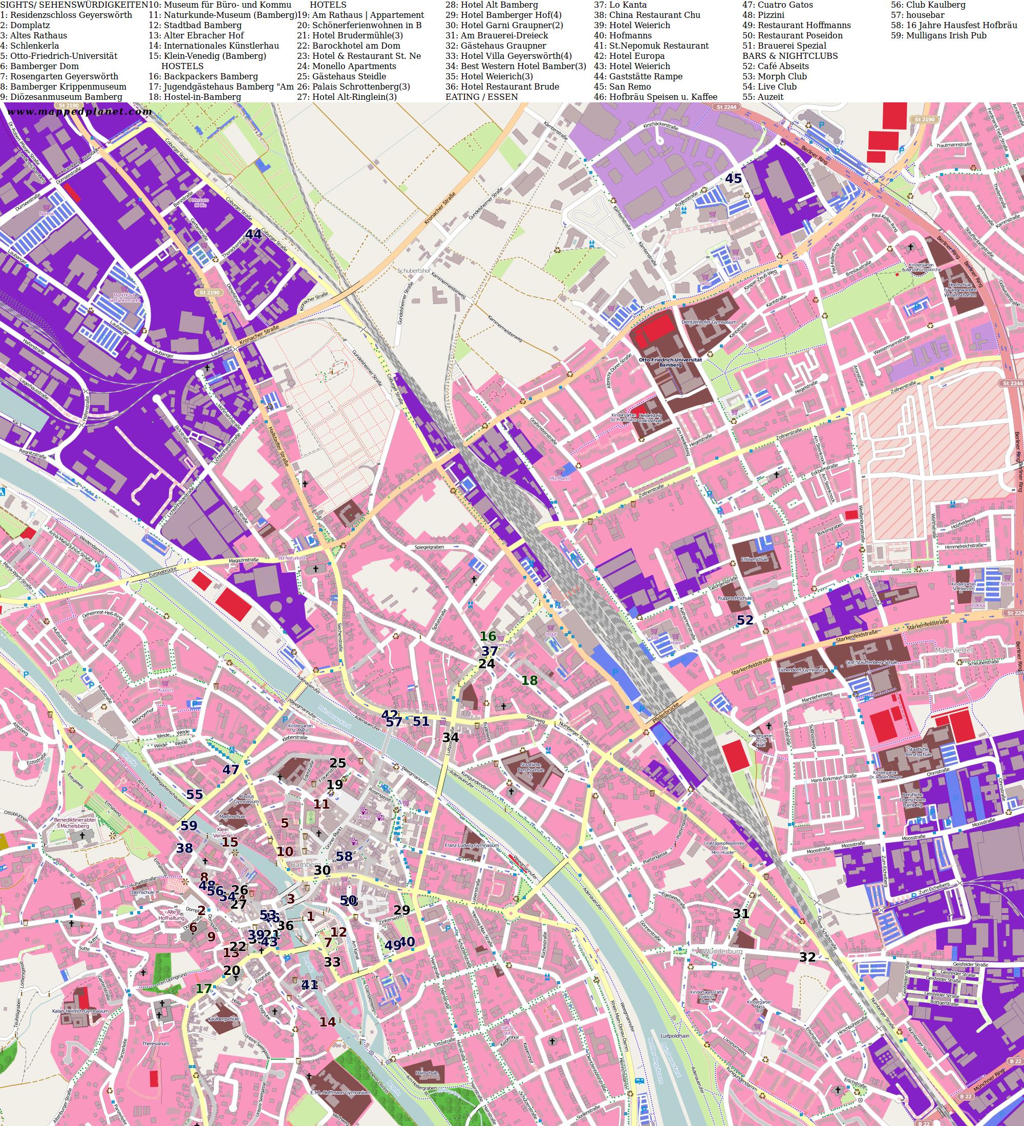 Karte Bamberg.Karten Und Stadtplane Bamberg