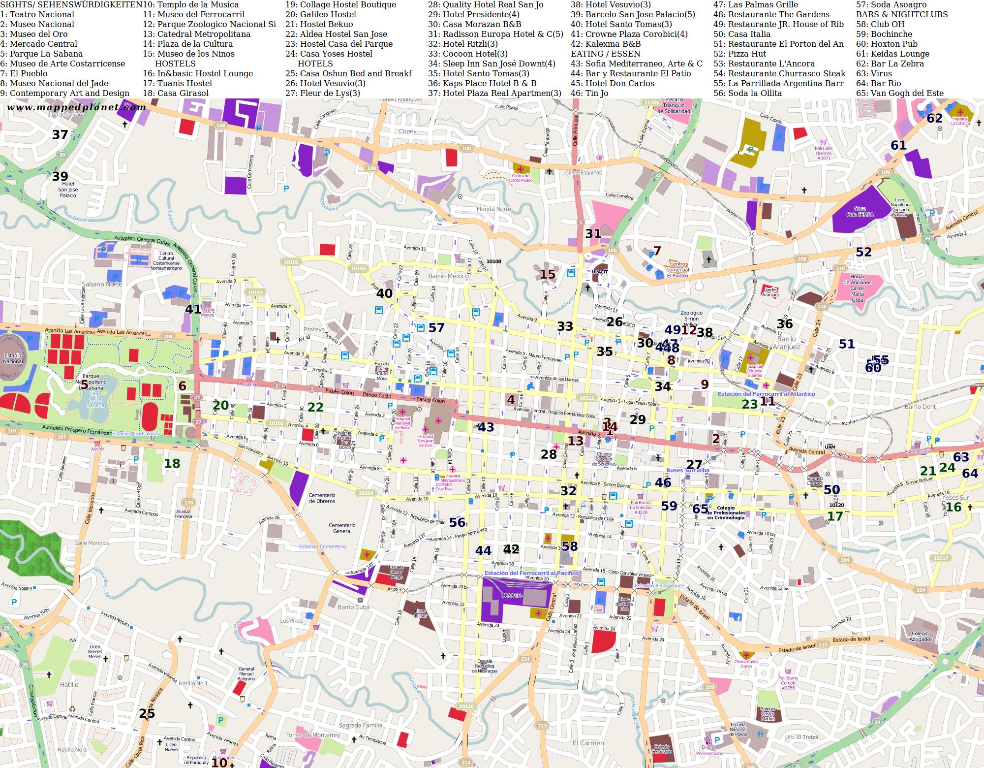 Costa Rica Karte Sehenswurdigkeiten.Karten Und Stadtplane San Jose