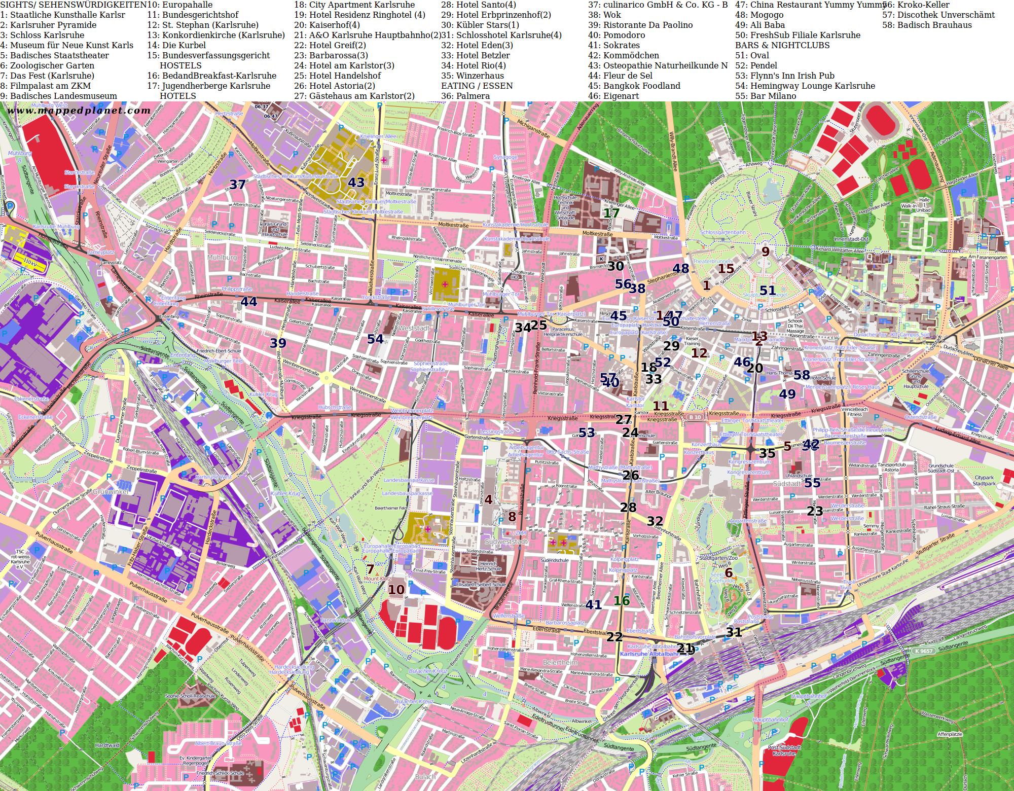 City maps Karlsruhe