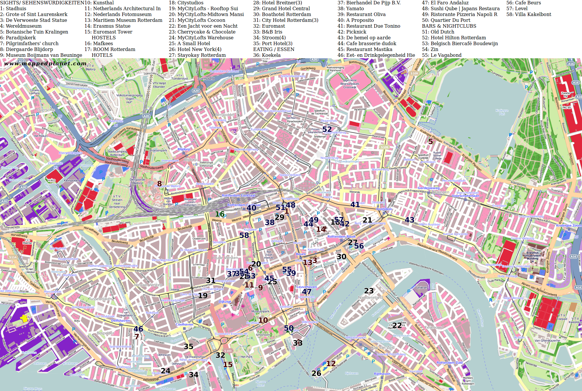 City maps rotterdam city map rotterdam with points of interest gumiabroncs Gallery
