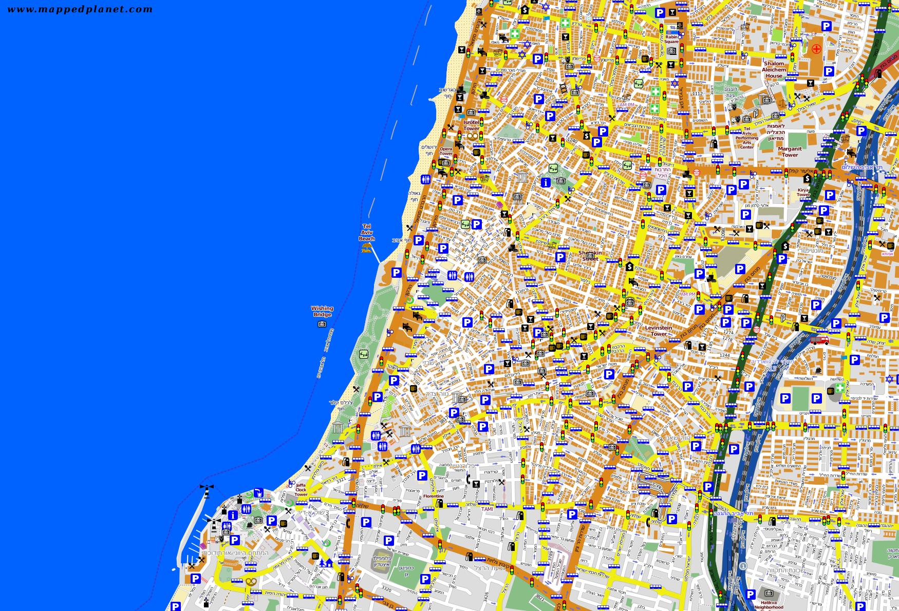 touristic map tel aviv. city maps tel aviv