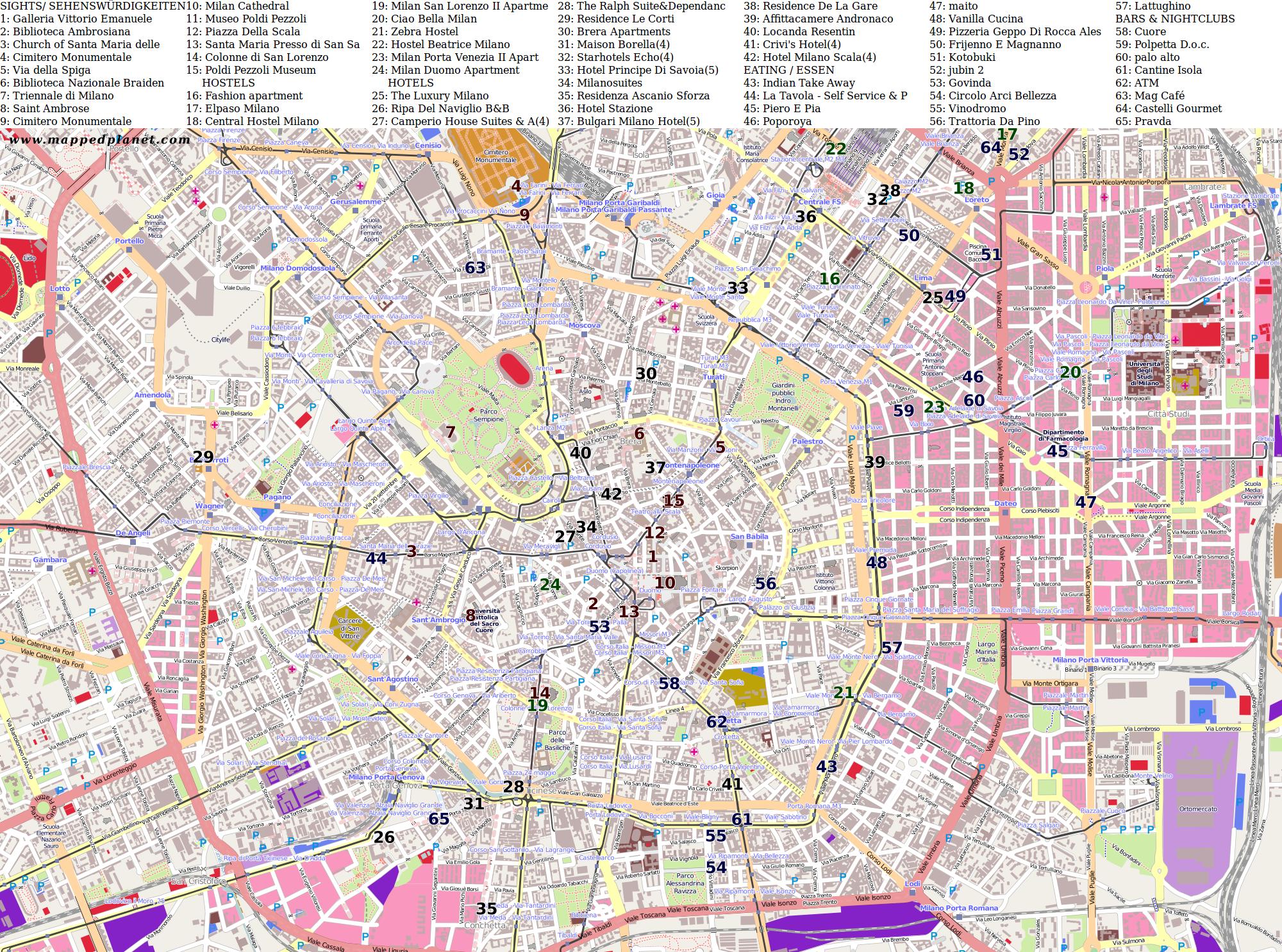 City Map Of Milano