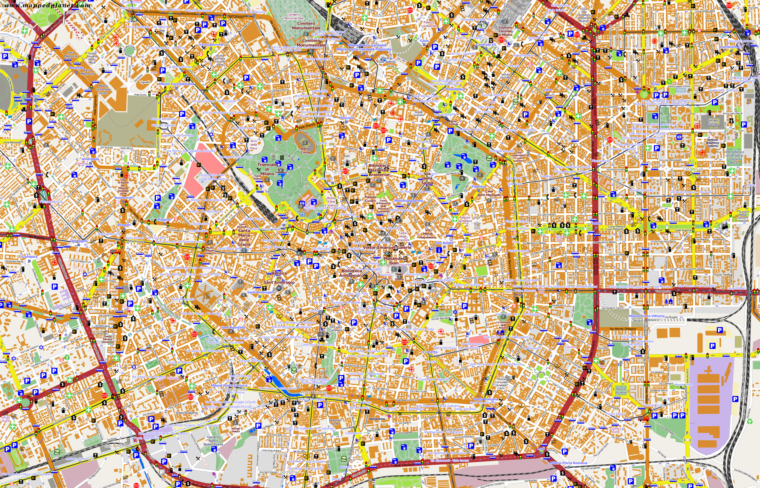 City maps Milan
