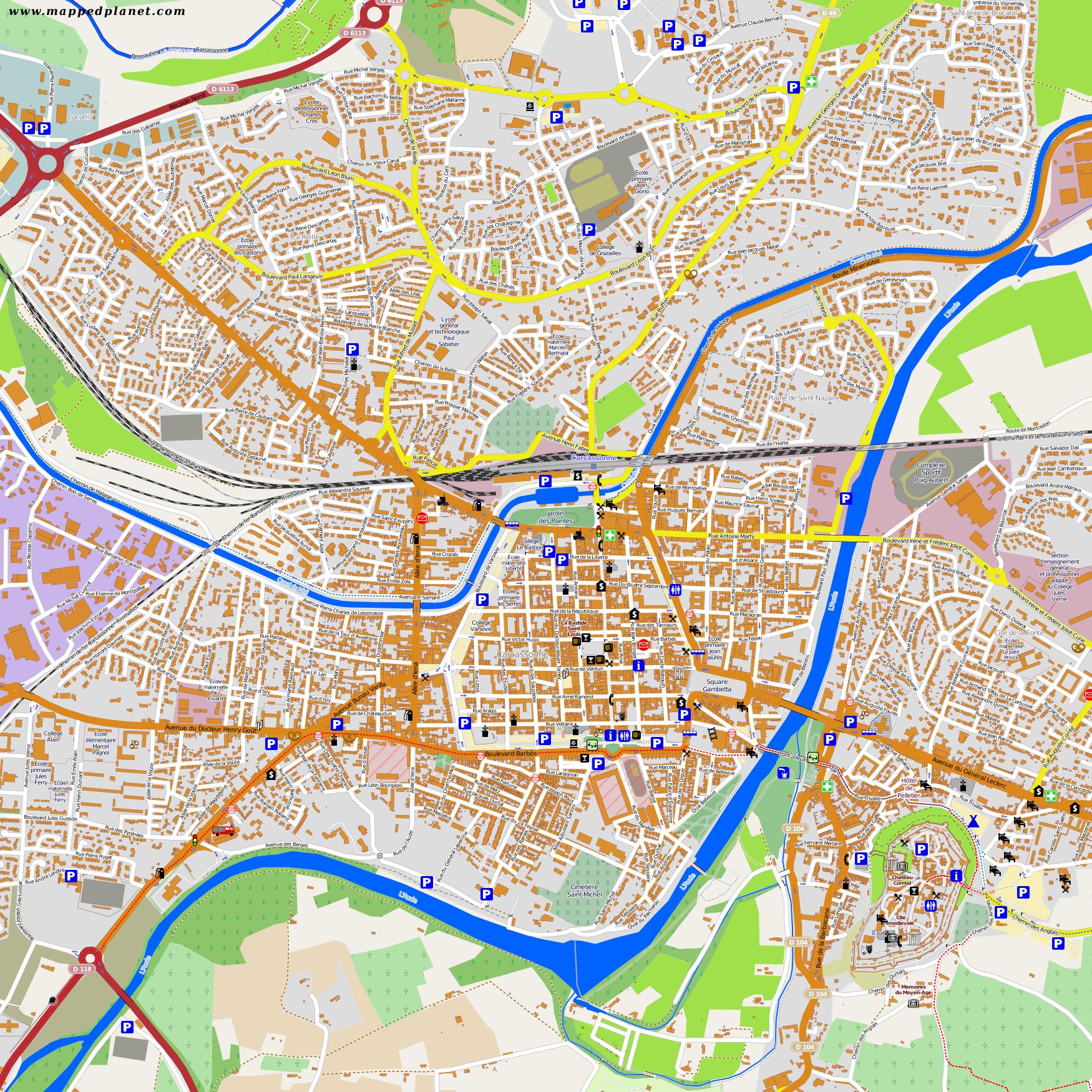 City Maps Carcassonne - Rue france map