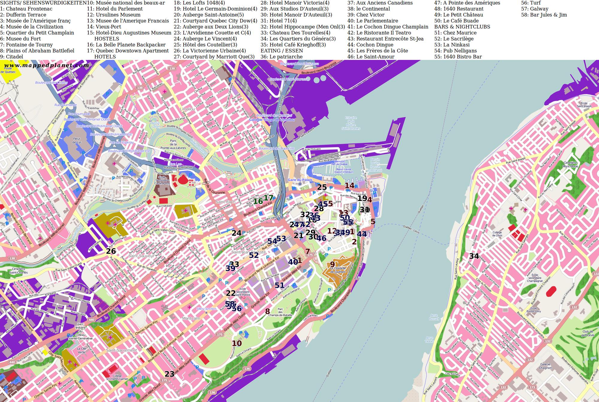 Quebec Karte.City Maps Quebec City