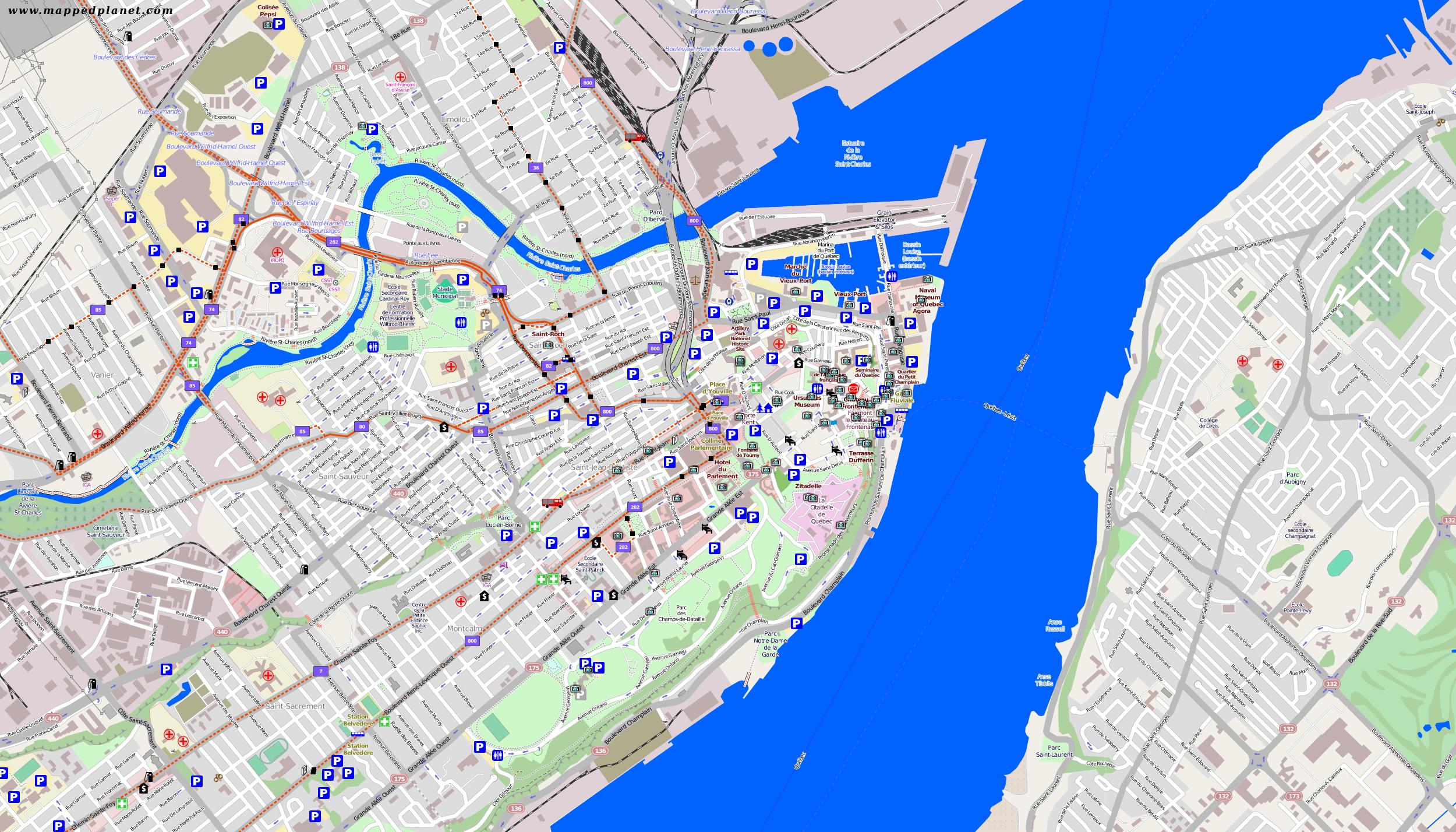 City maps Quebec City Quebec City Hotels Map on
