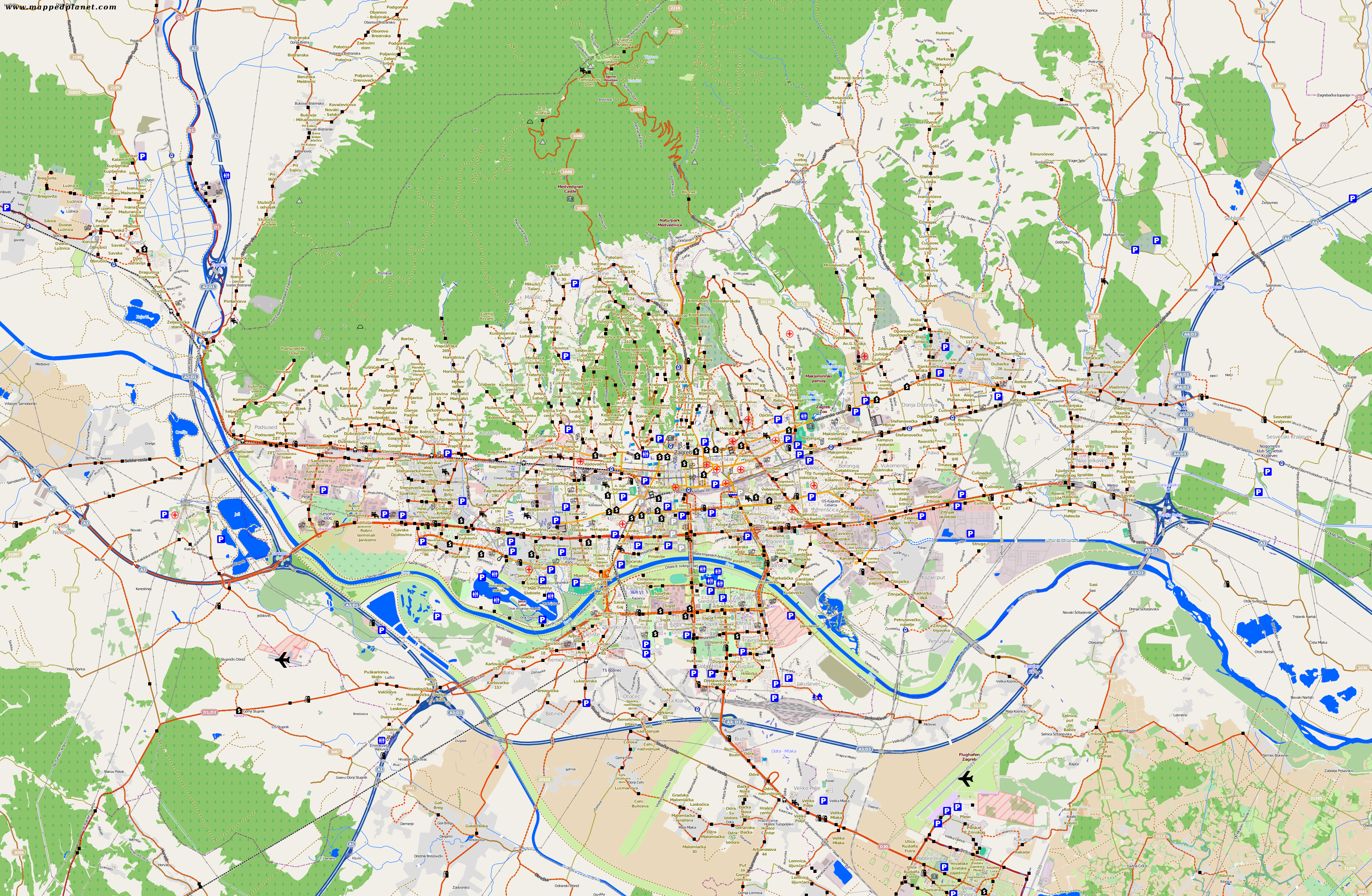 City maps Zagreb