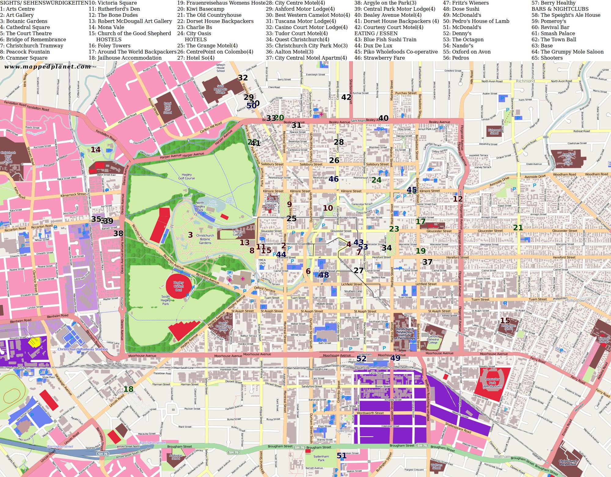 City maps Christchurch Map Of Christchurch New Zealand on