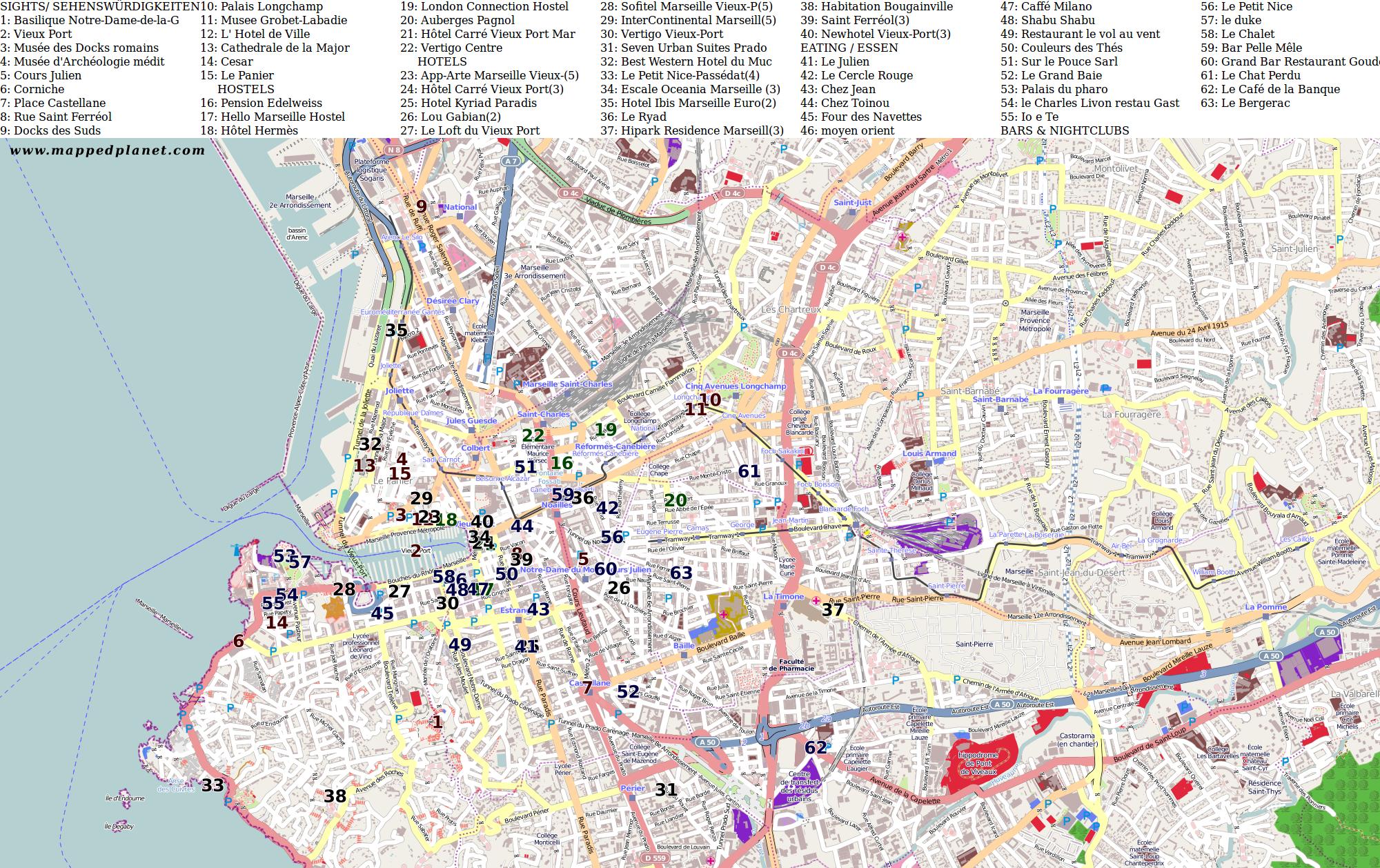 City maps Marseille