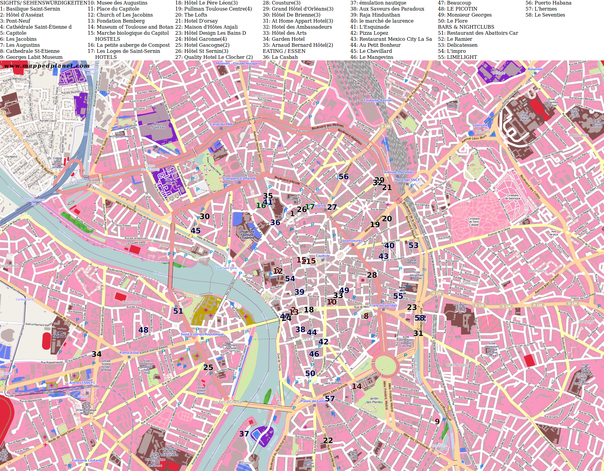 Toulouse Karte.City Maps Toulouse