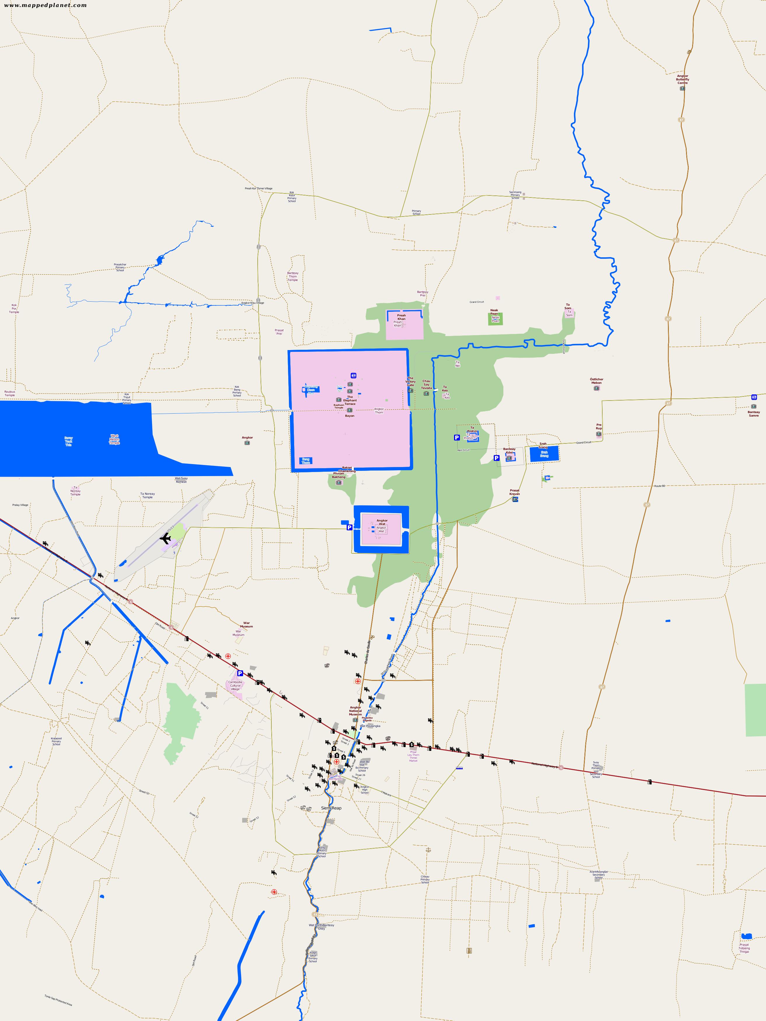 Angkor Wat Karte.City Maps Angkor Wat
