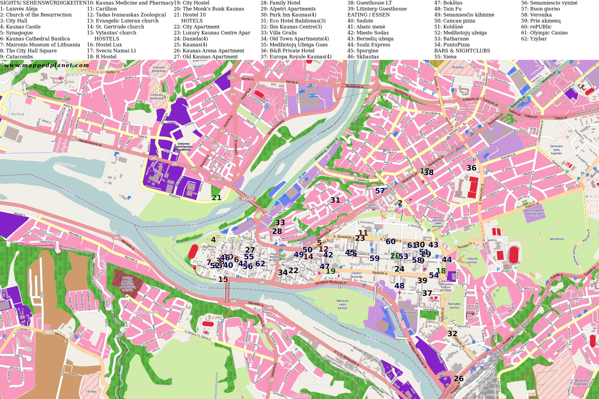 City maps Kaunas: http://www.mappedplanet.com/citymaps-536-Kaunas