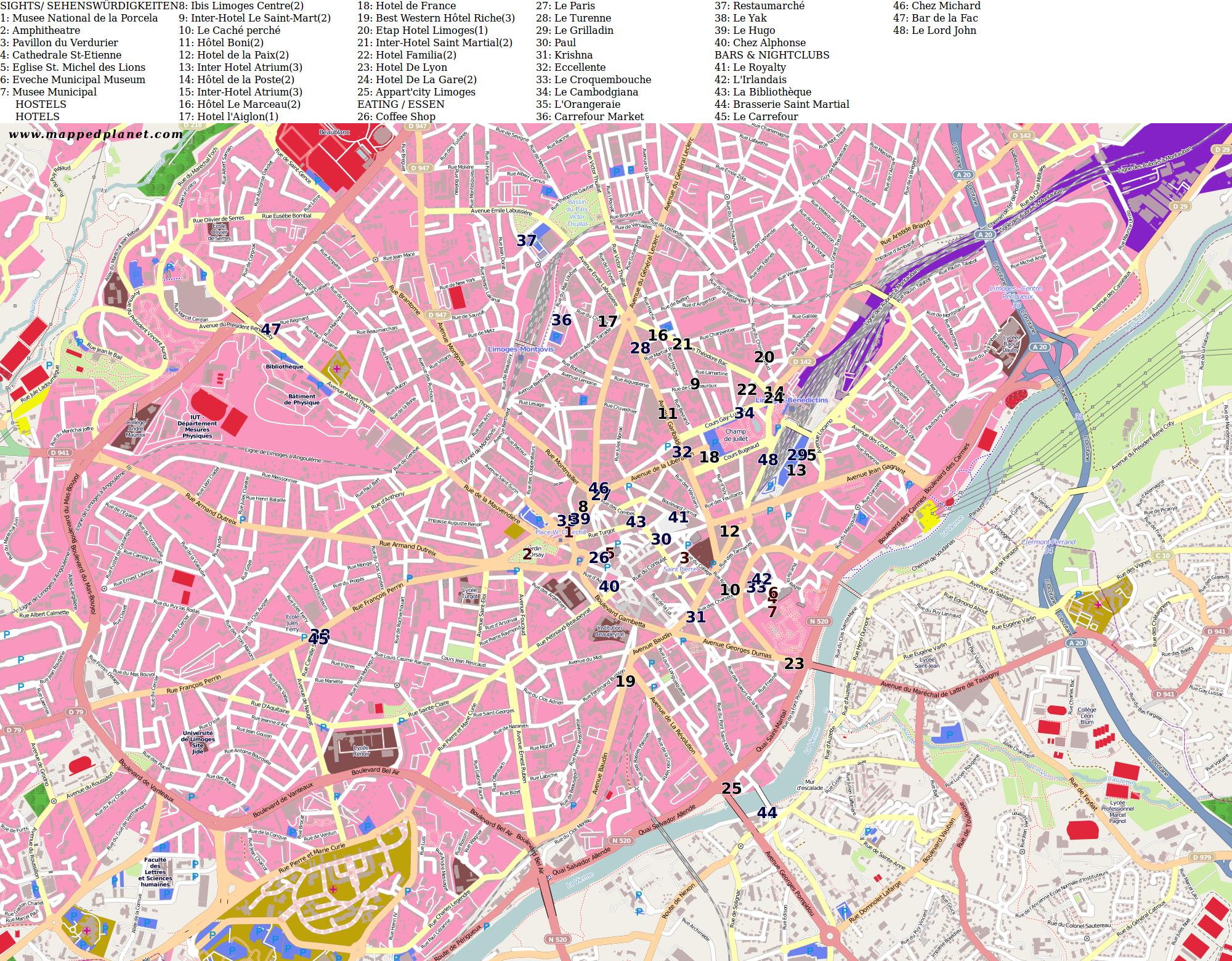 Limoges France Map.City Maps Limoges