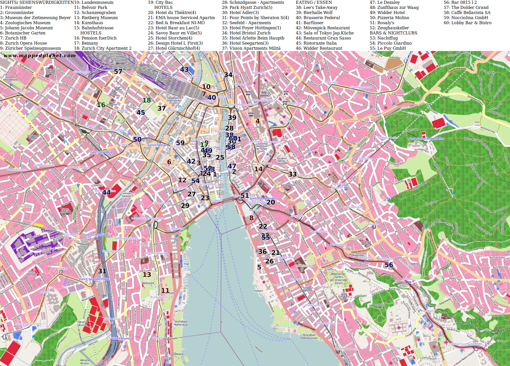 City maps zurich city map zurich with points of interest publicscrutiny Gallery