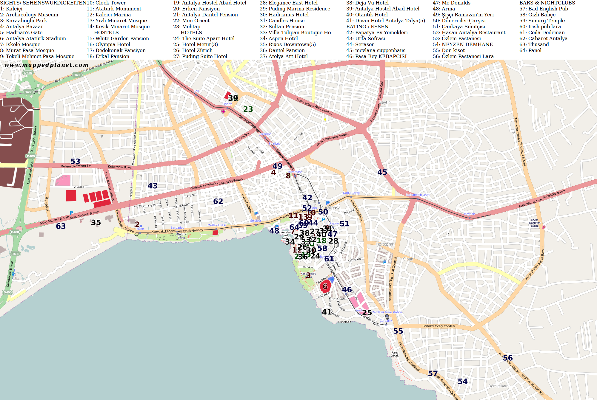 city map antalya with points of interest. city maps antalya