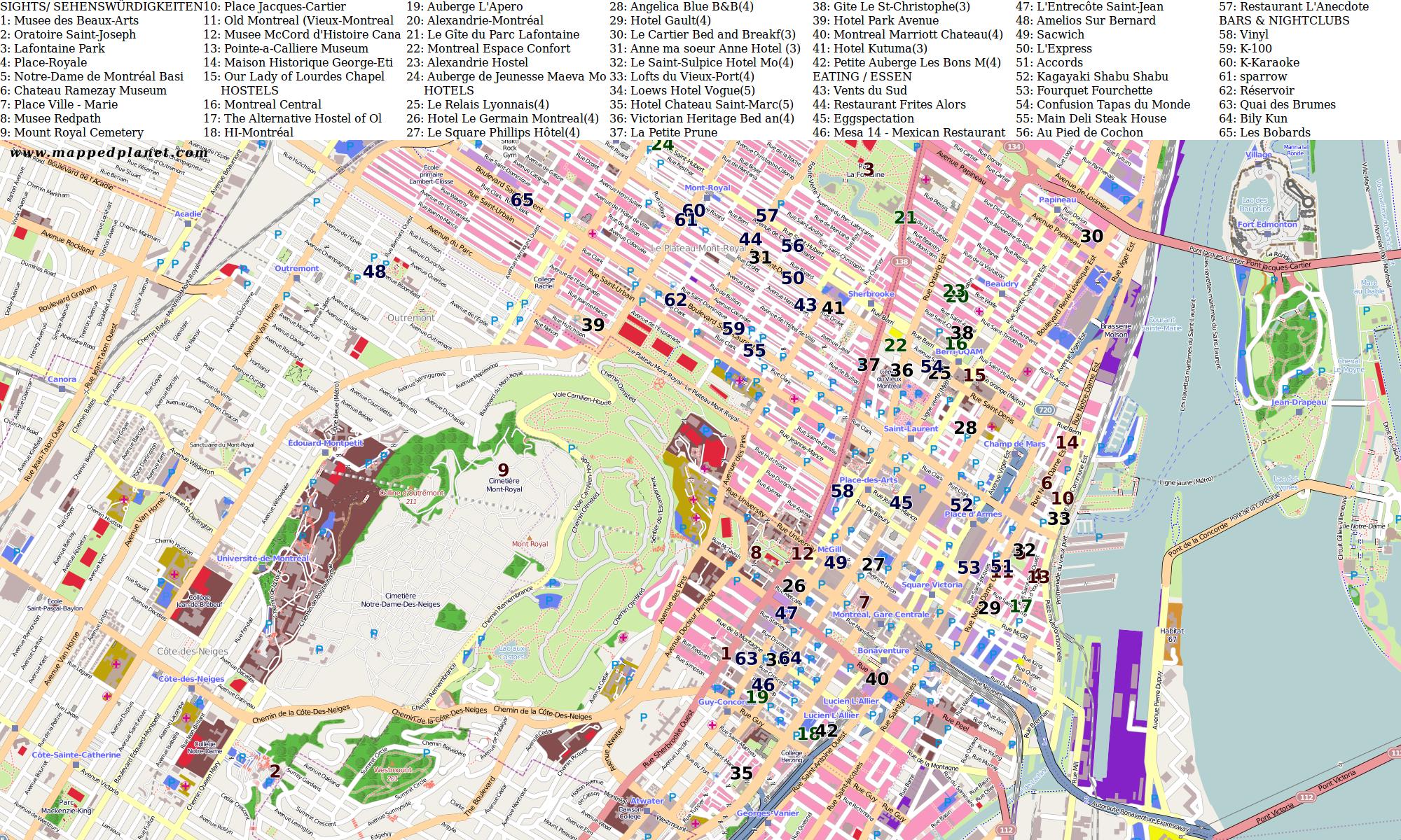 Downtown Tourist Map Montreal Tourism Pinterest Tourist map