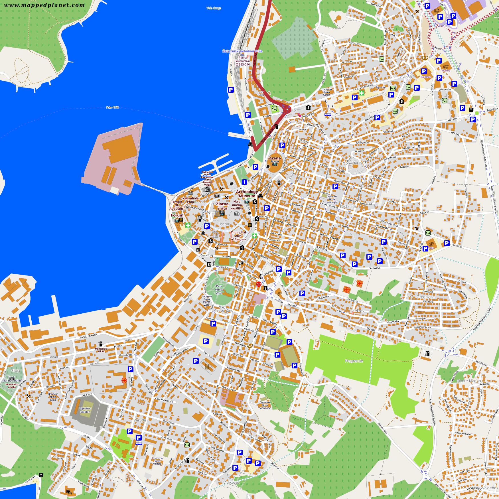 Karte Kroatien Pula.Karten Und Stadtpläne Pula