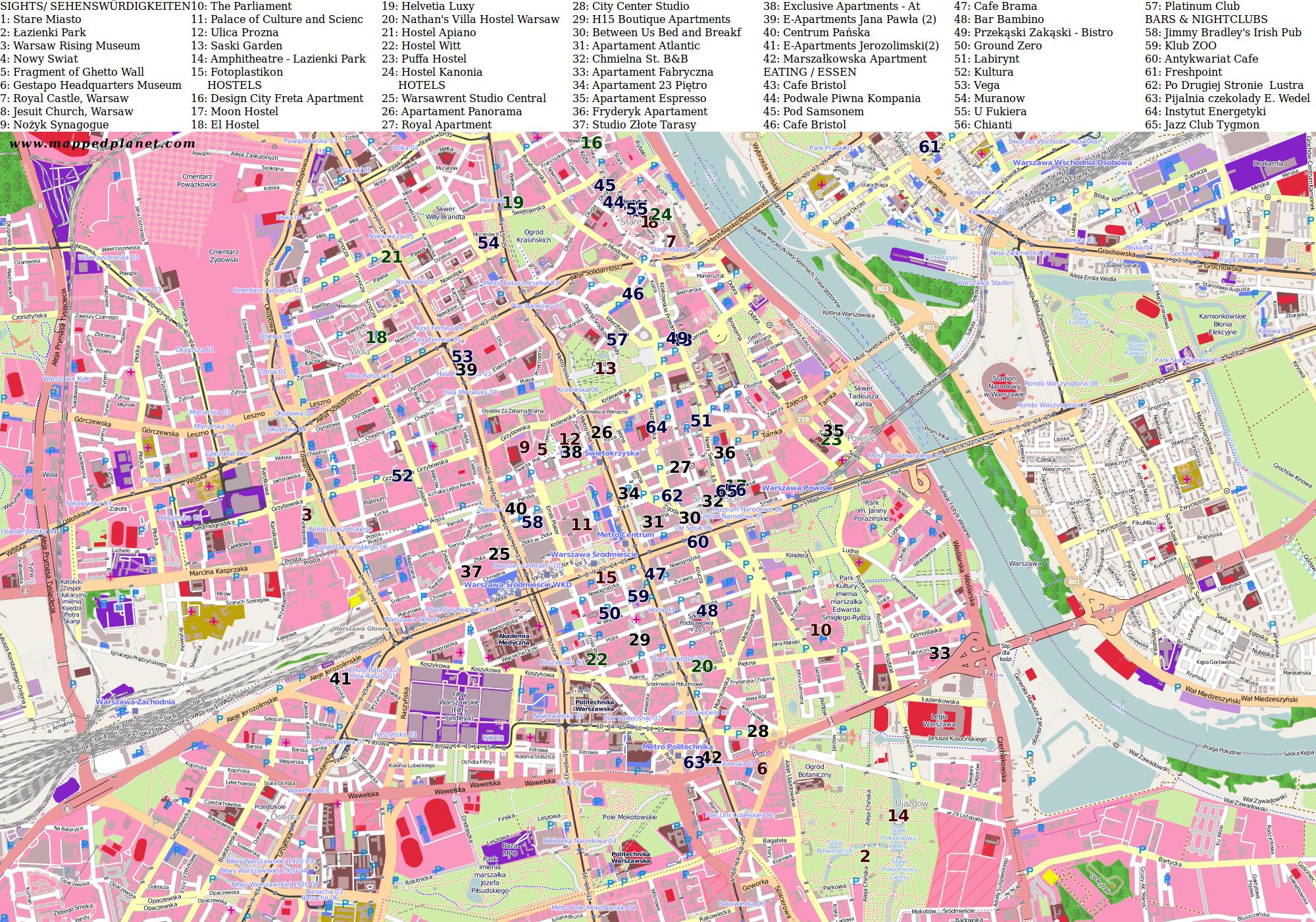 карта варшавы с улицами и районами приставы