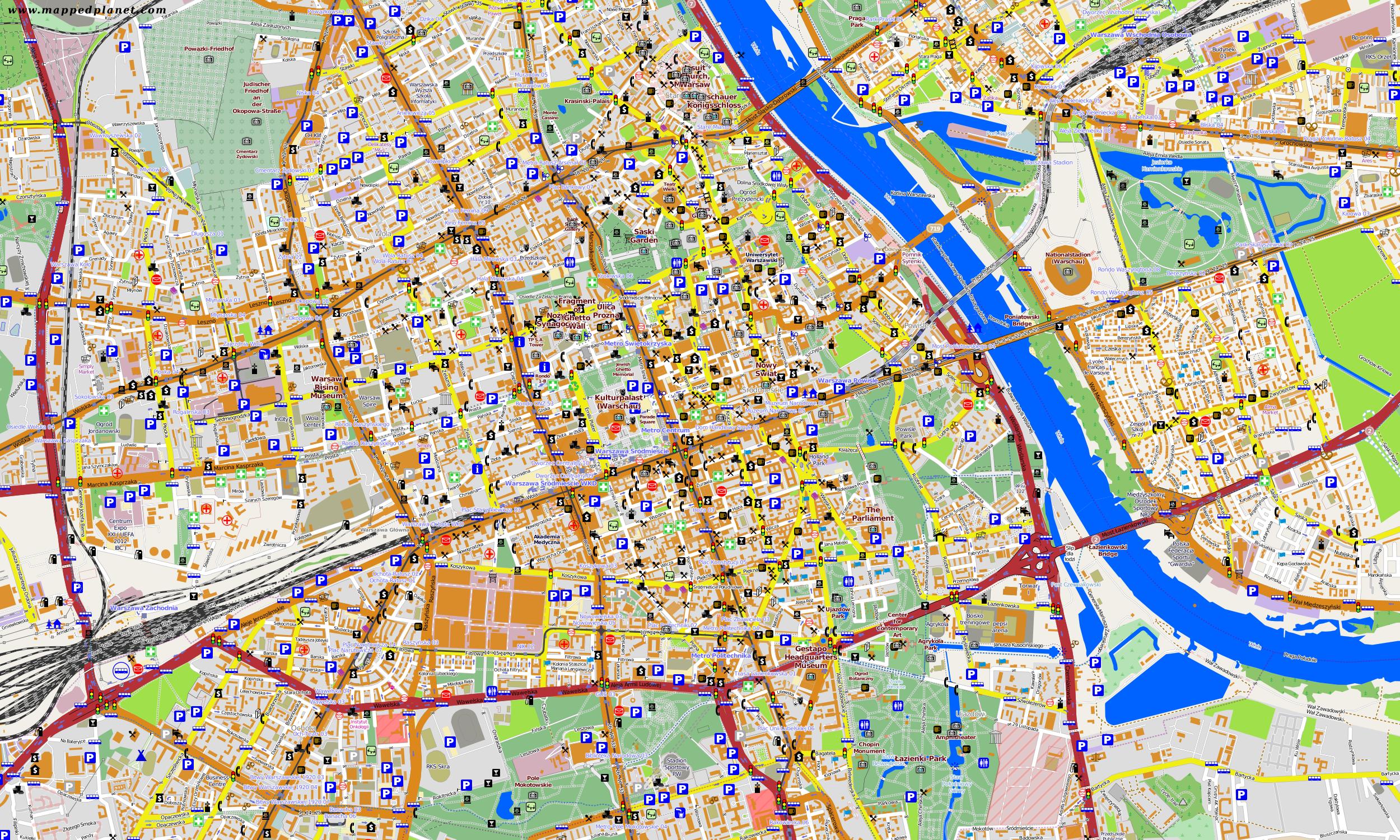 универсальные карта варшавы с улицами и районами перед