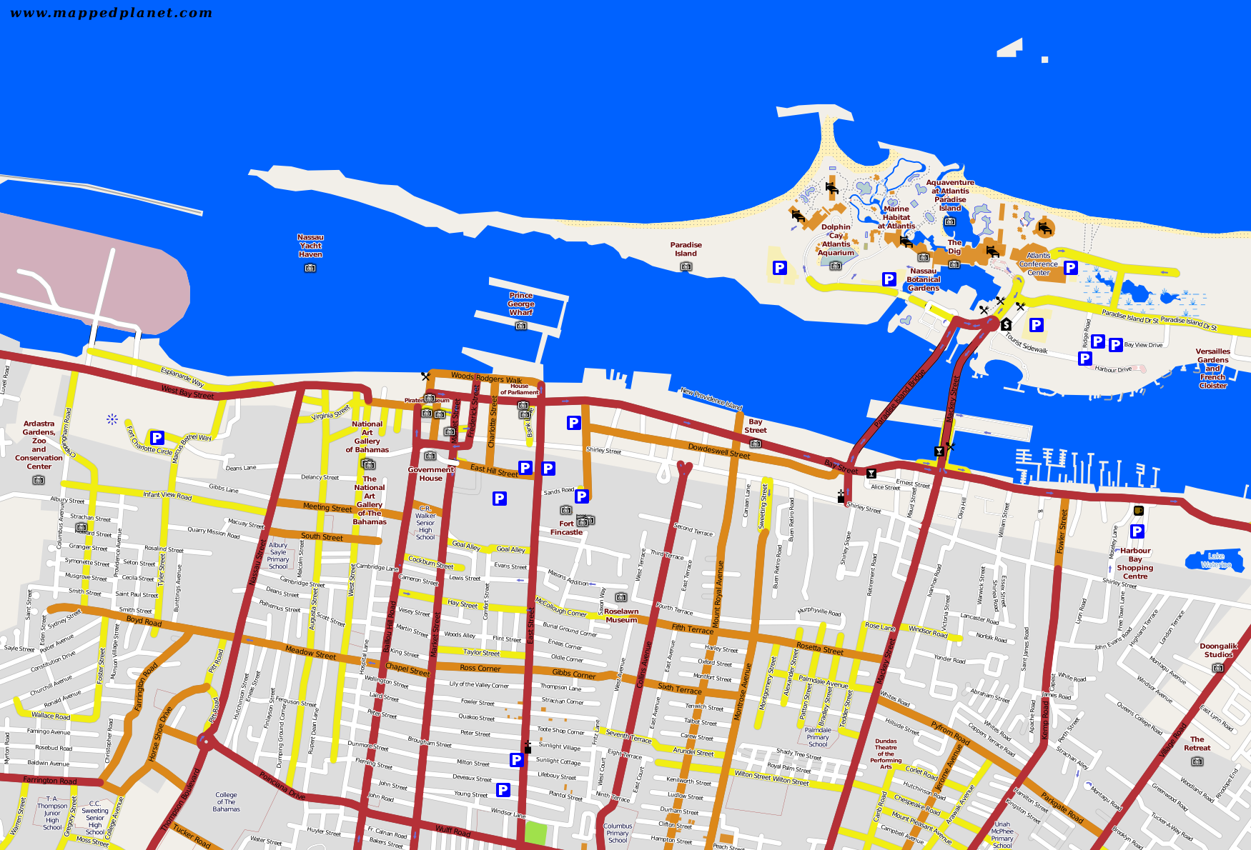 City maps Nassau – Nassau Tourist Map