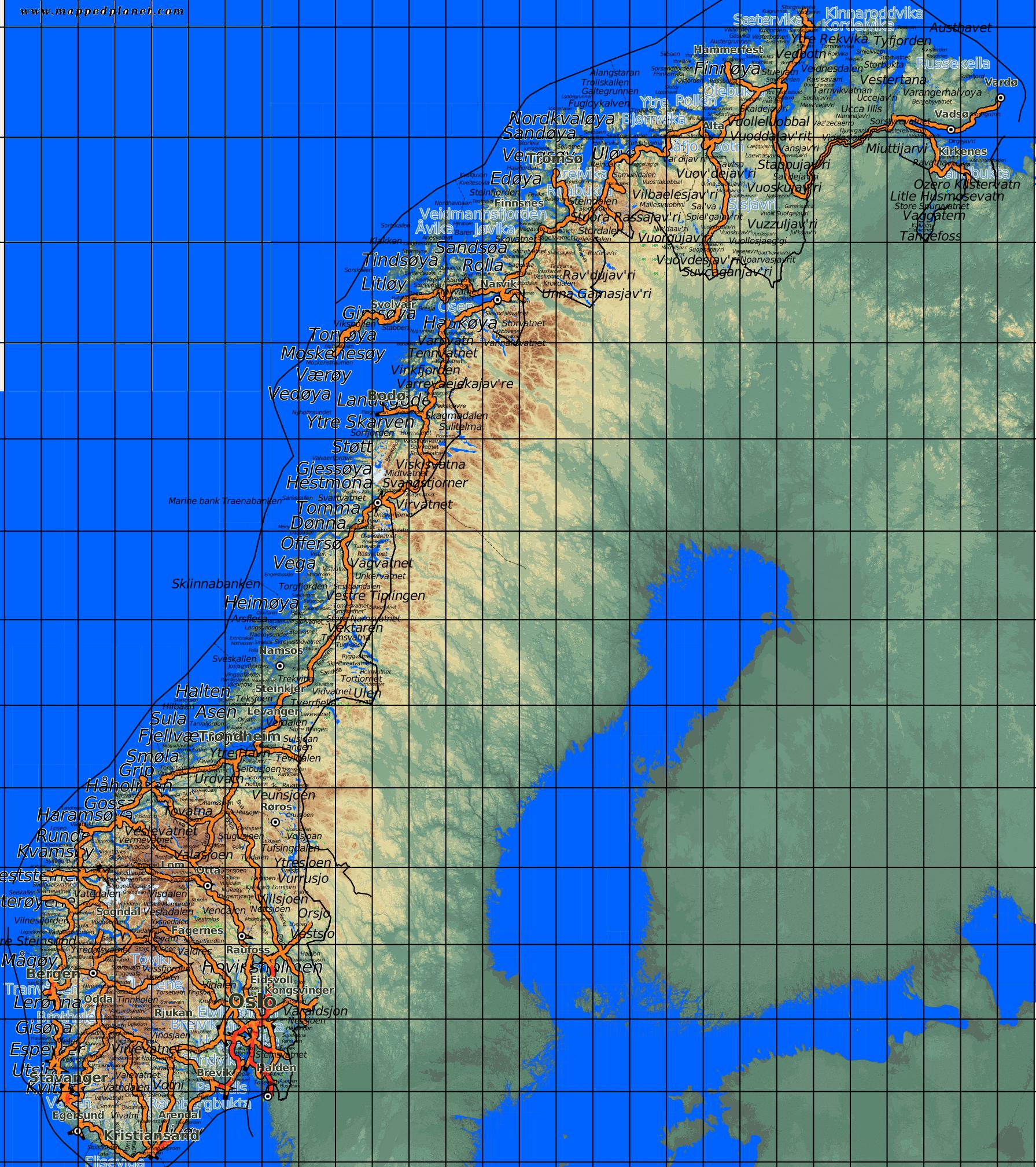 Karte Südnorwegen.Karten Und Stadtpläne Norwegen