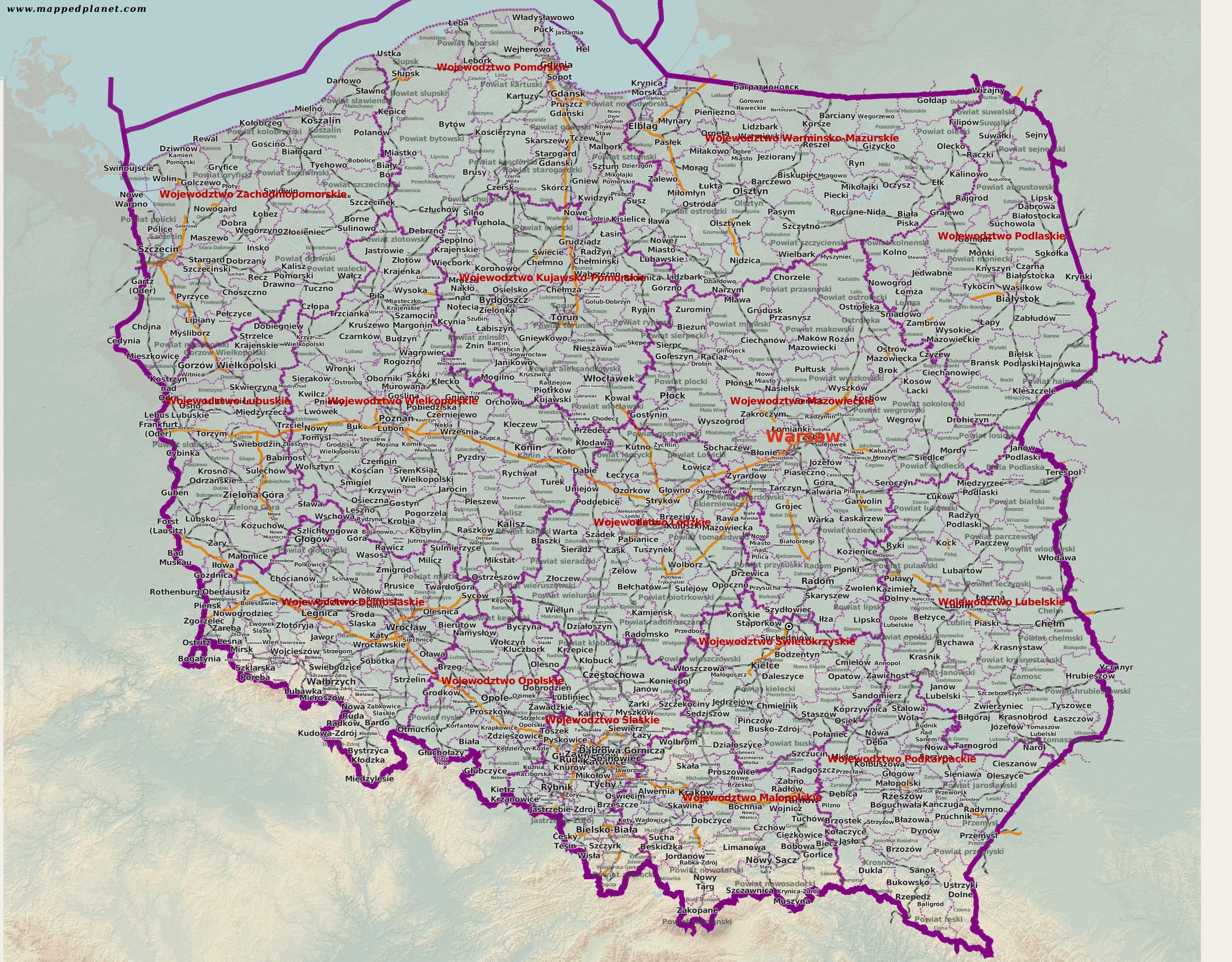 Polen Karte.Karten Und Stadtpläne Polen
