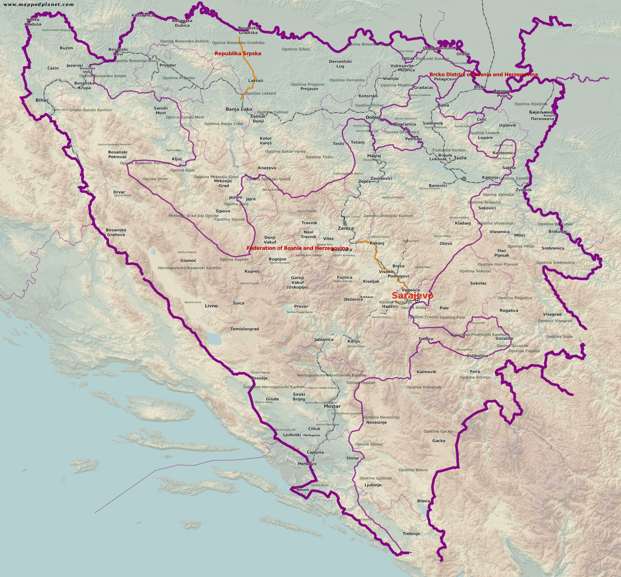 Country maps Bosnia and Herzegovina