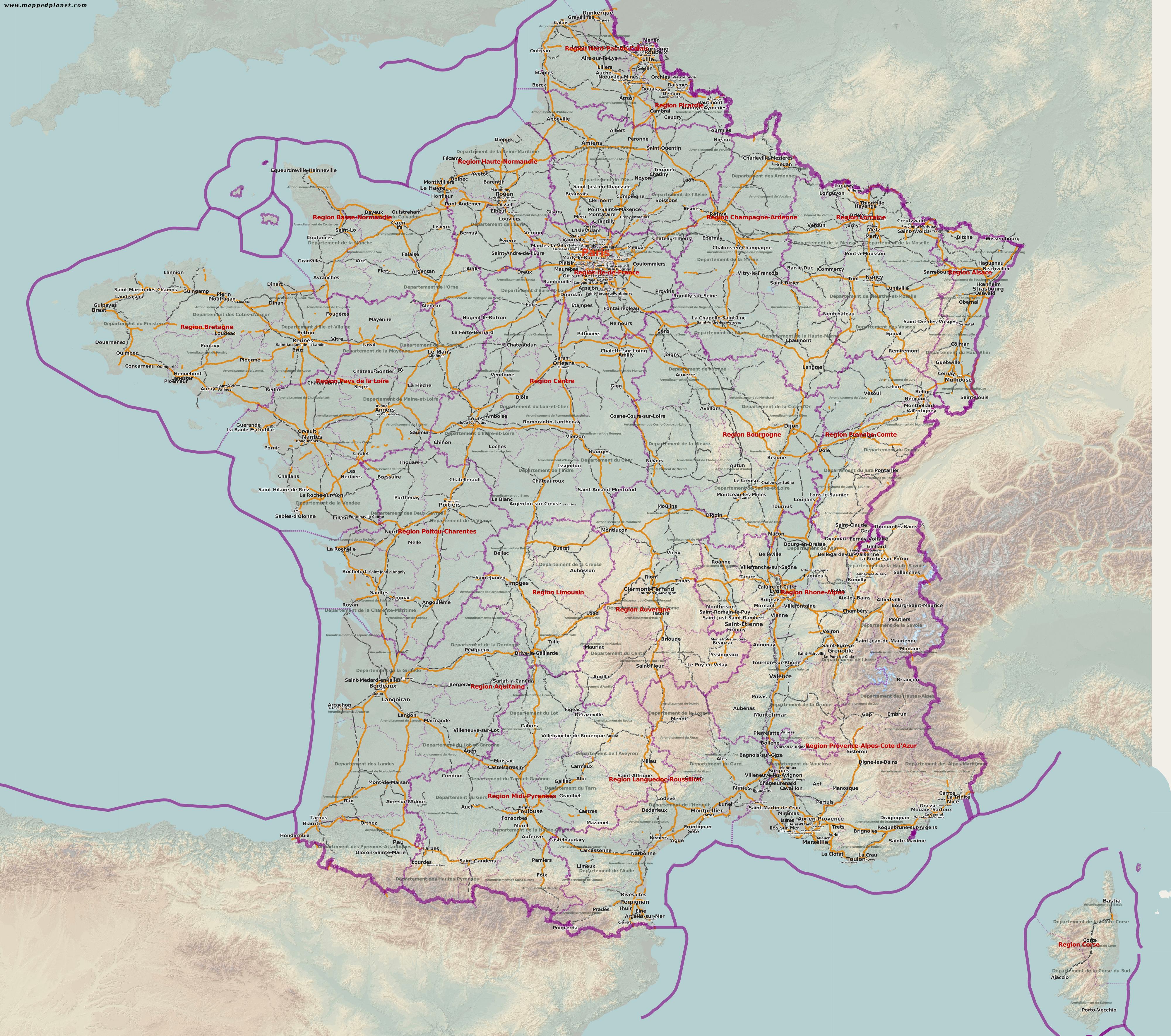 Frankreichh topo gps karte garmin mit 10m srtm höhenlinien.