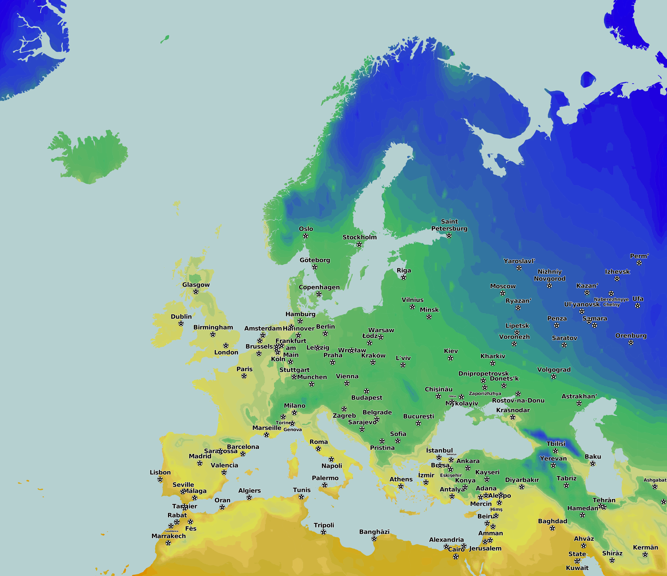 Average Rainfall Map Europe.Thematic Maps And City Maps Climate