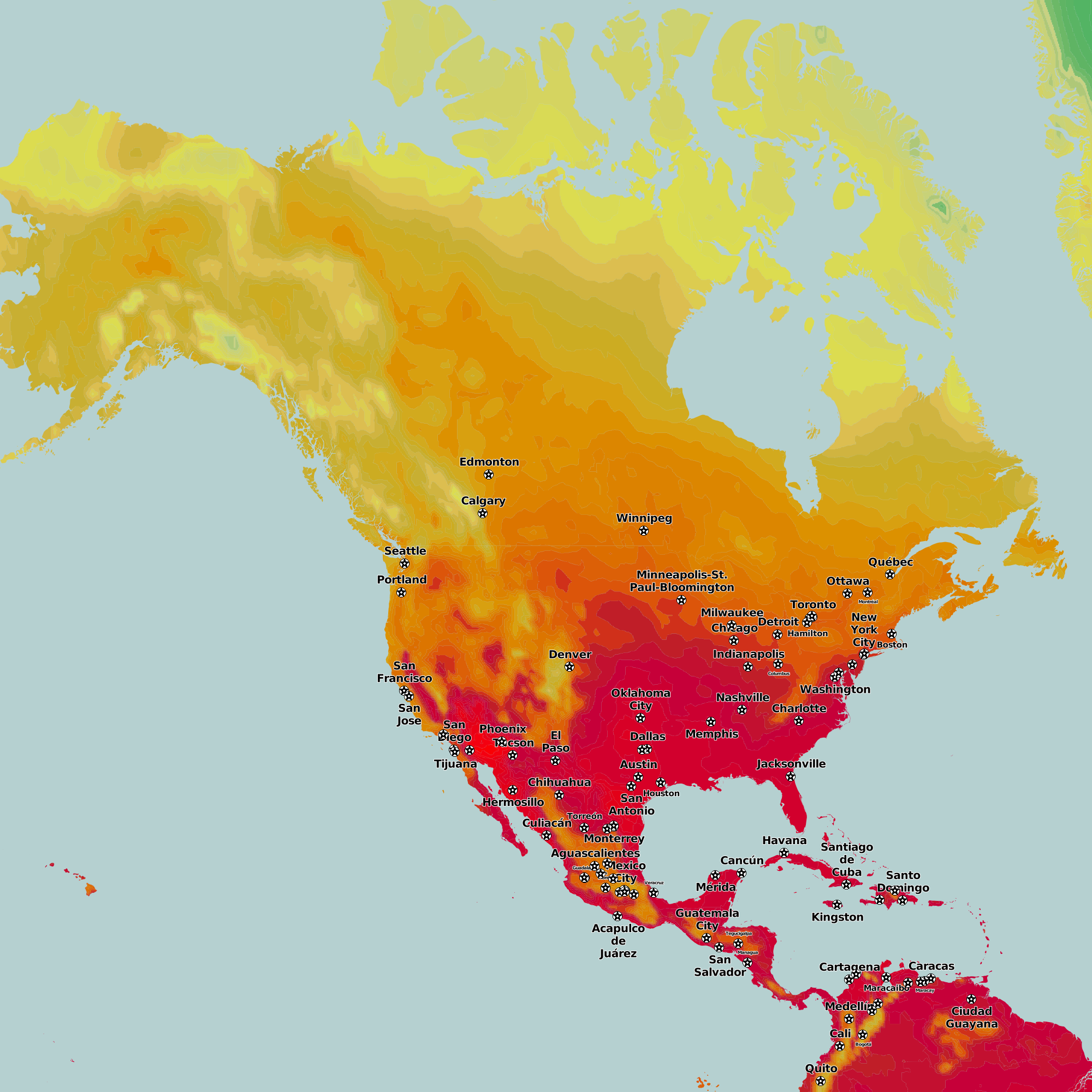 Thematic Maps And City Maps Temperature - North america air temperature map