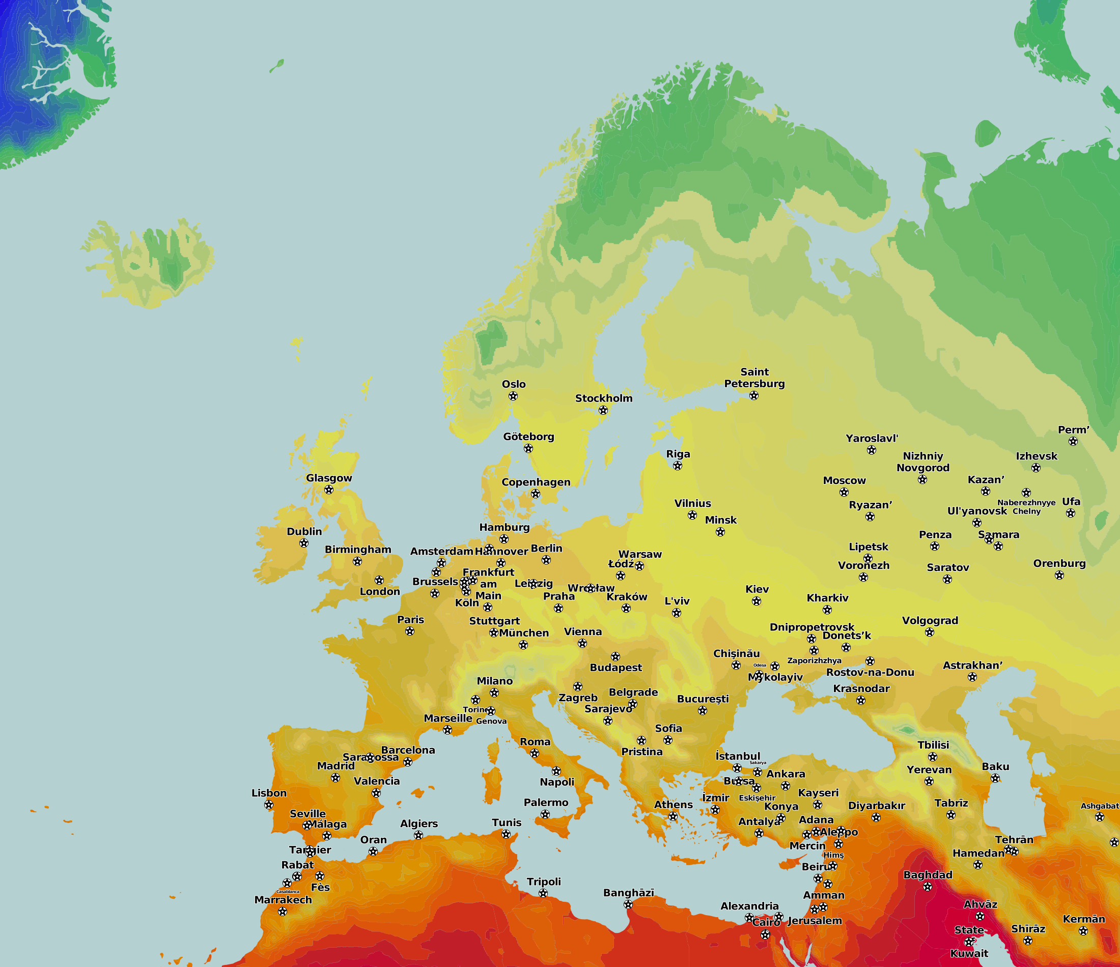 Thematic Maps And City Maps Temperature - Barcelona map of europe